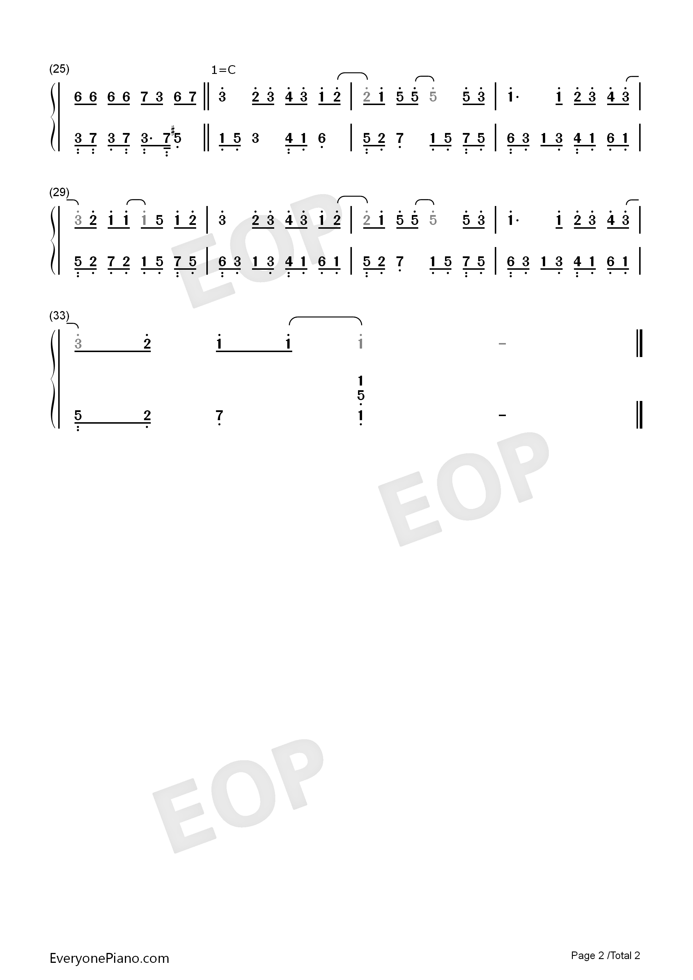 Say Love You-Piano Version Numbered Musical Notation Preview 2