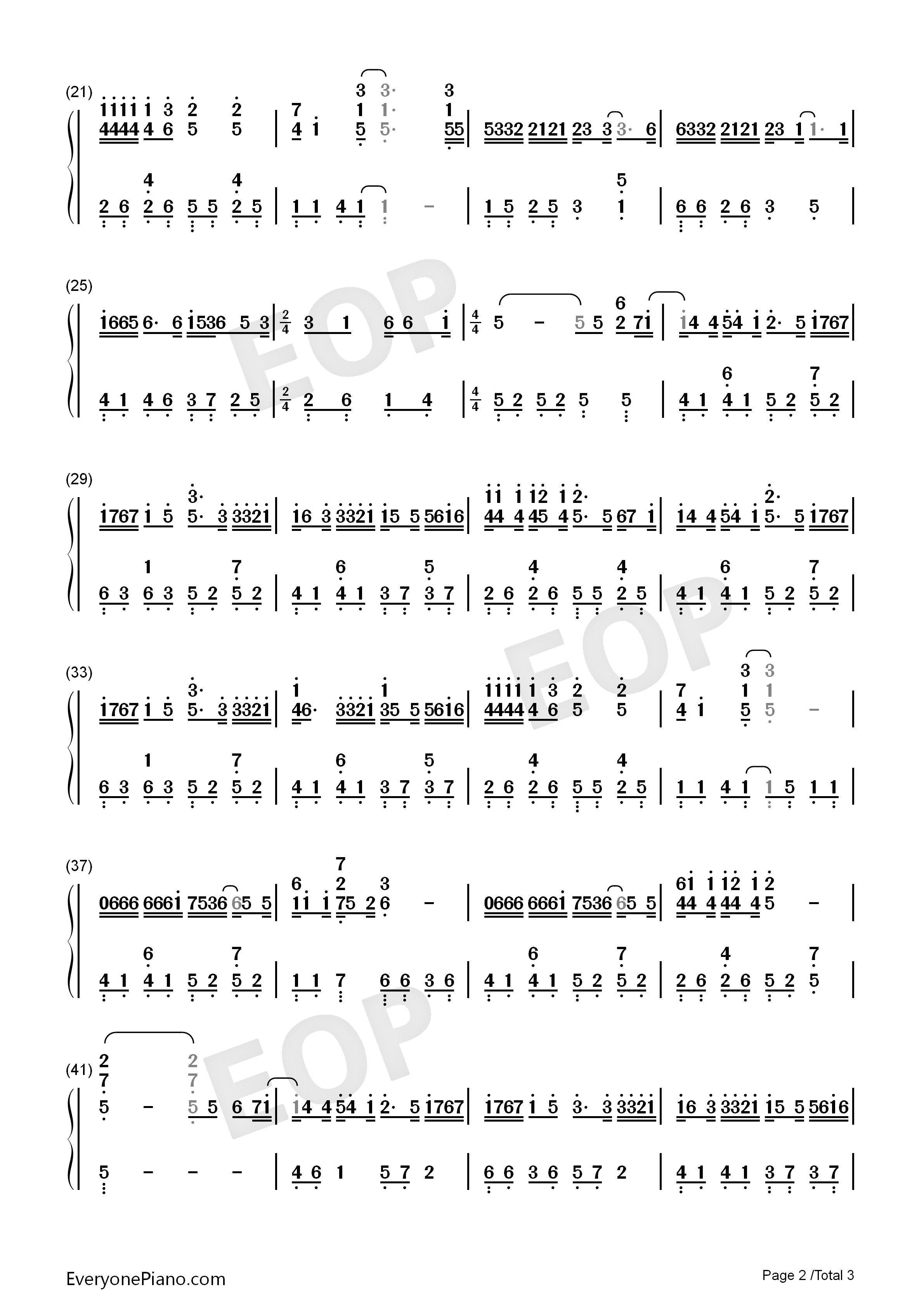 Amnesia-Original Version Numbered Musical Notation Preview 2