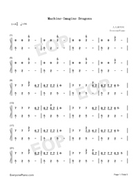 Machine-Imagine Dragons-Numbered-Musical-Notation-Preview-1