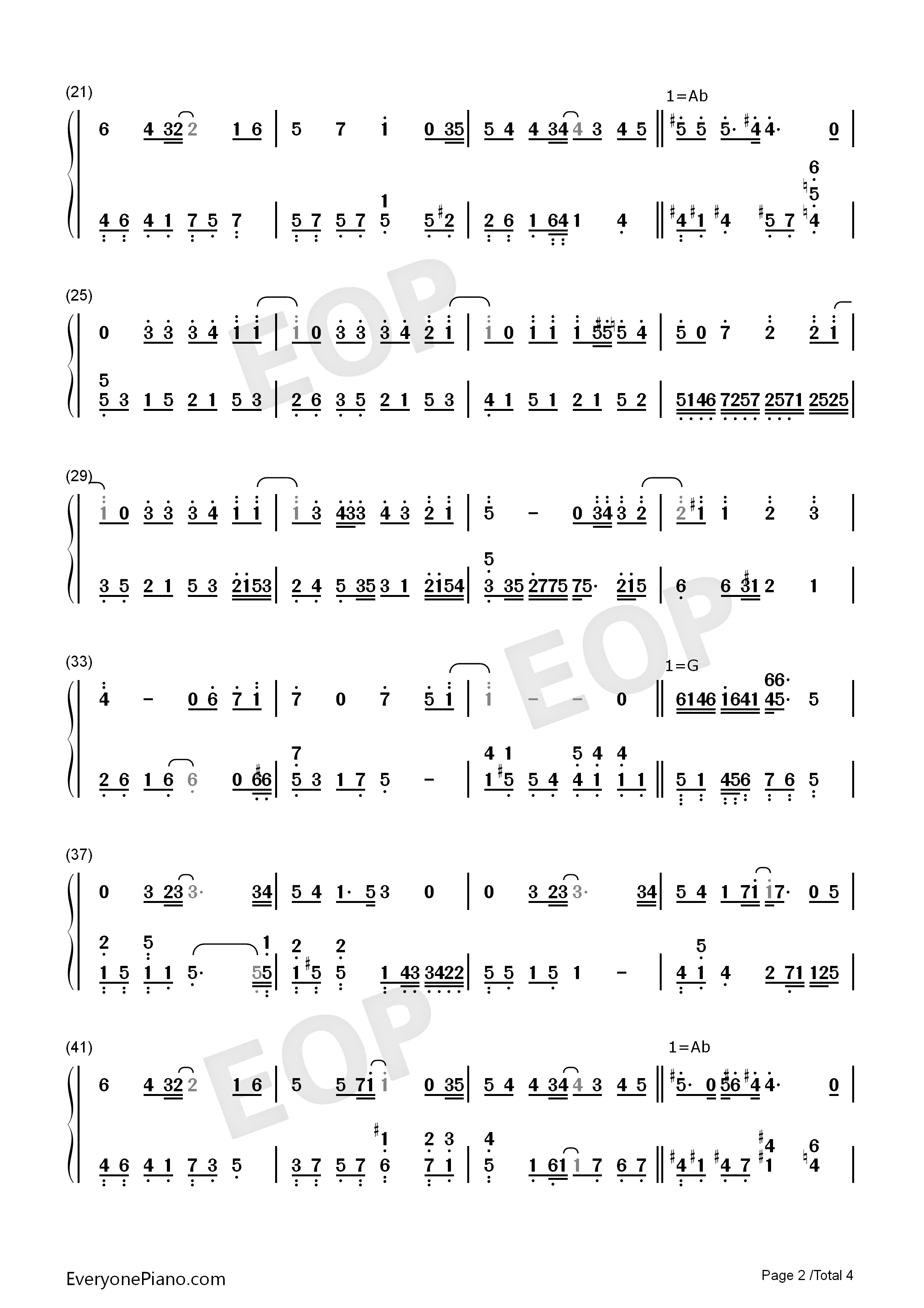 Never Say Goodbye-S.H.E Numbered Musical Notation Preview 2