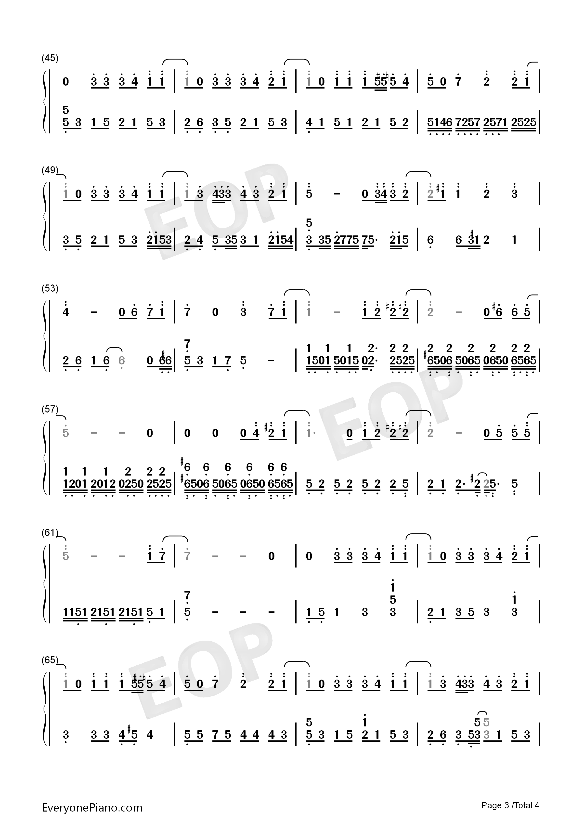Never Say Goodbye-S.H.E Numbered Musical Notation Preview 3