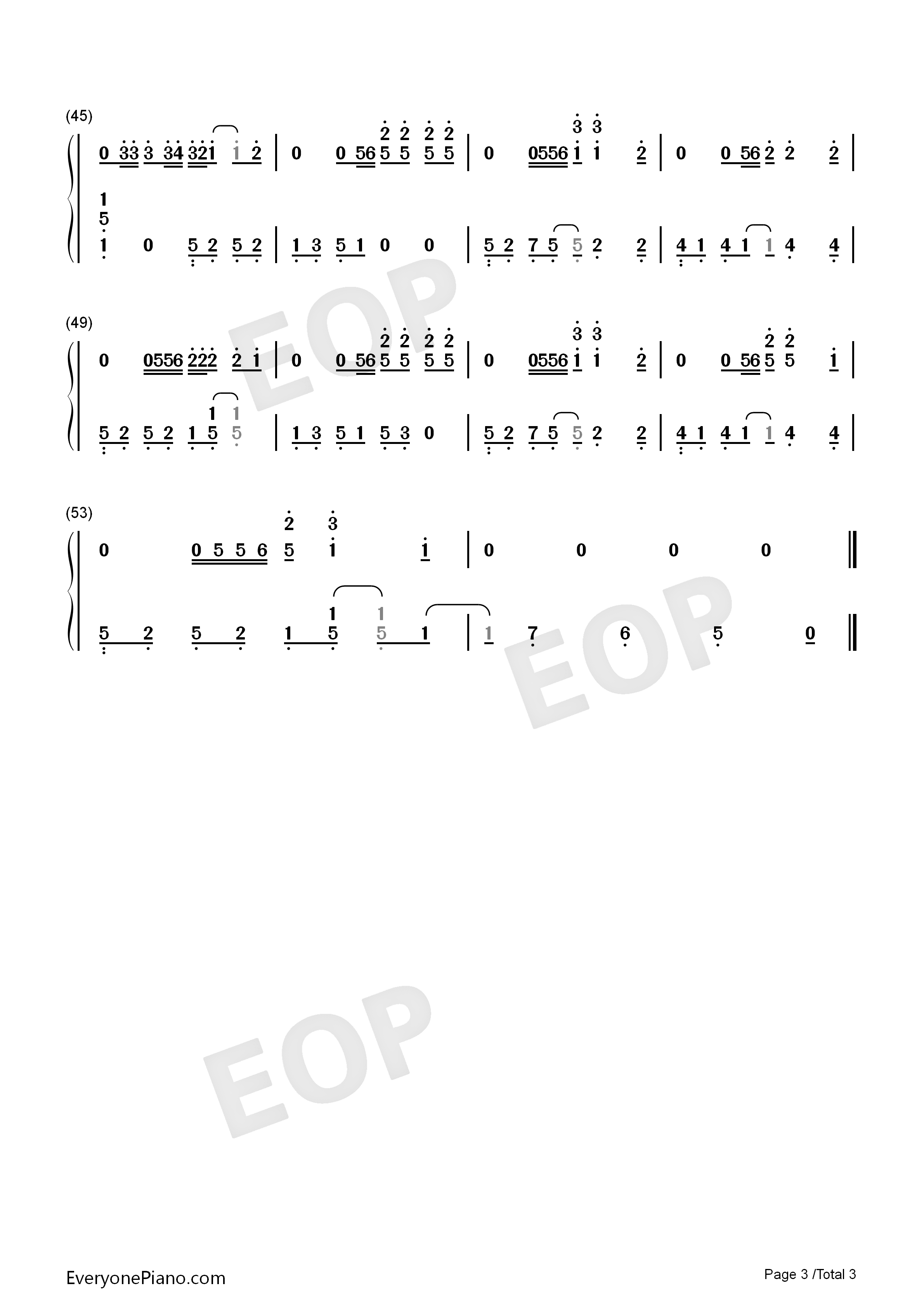 Sunflower-Spider-Man Into the Spider-Verse OST Numbered Musical Notation Preview 3
