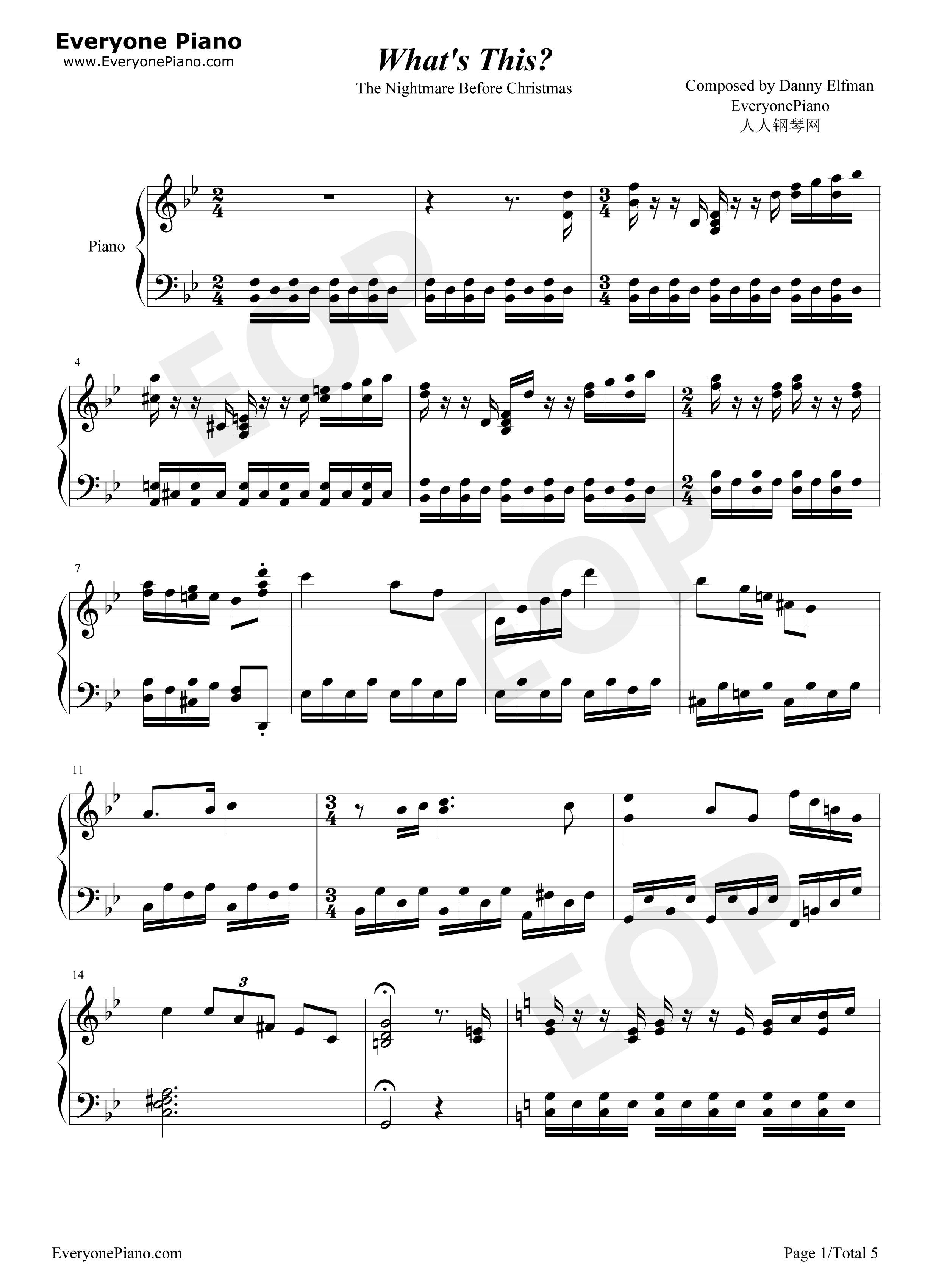 Nightmare Before Christmas Piano Sheet Music.What S This The Nightmare Before Christmas Ost Stave Preview