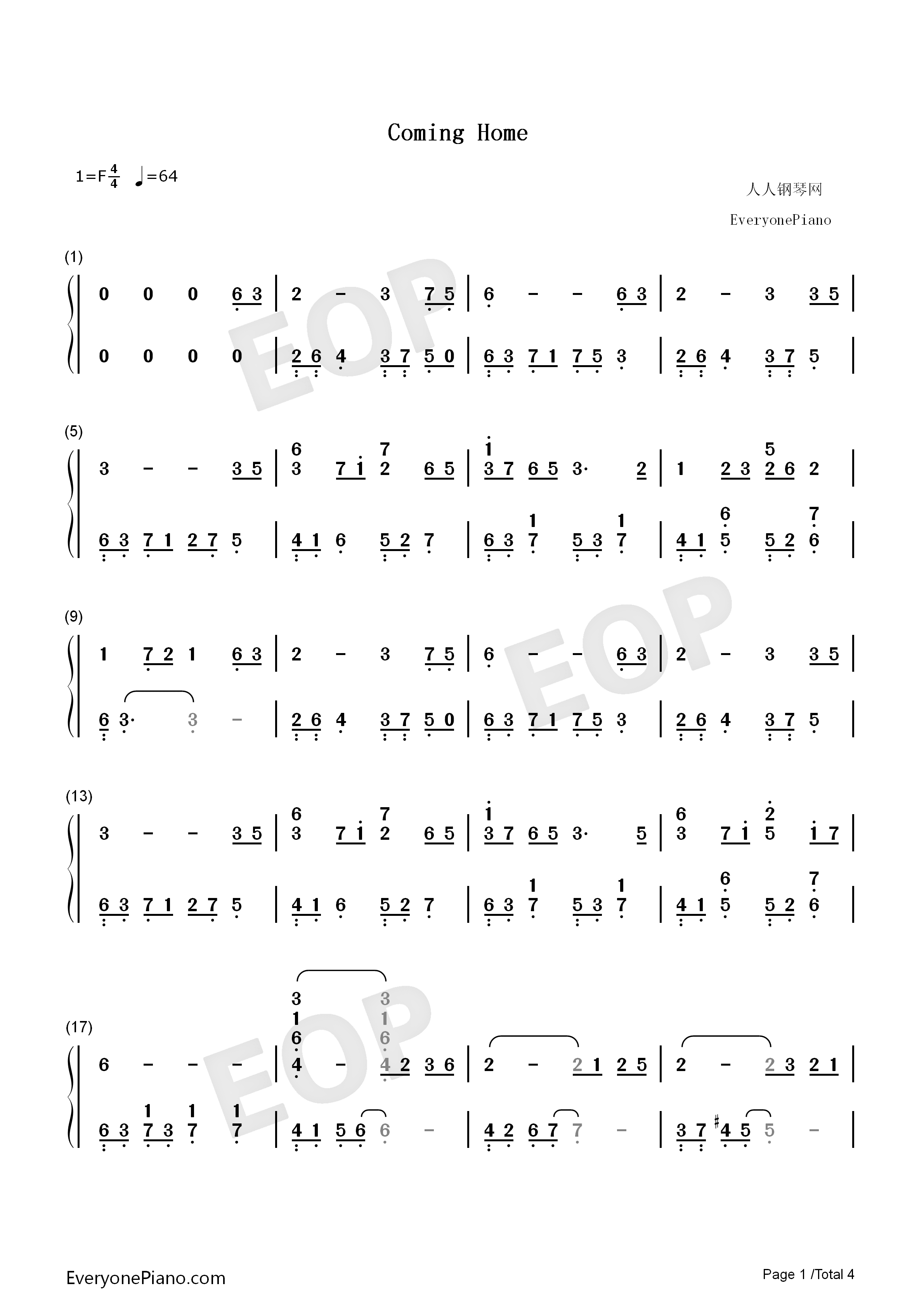 Coming Home-S.E.N.S. Numbered Musical Notation Preview 1