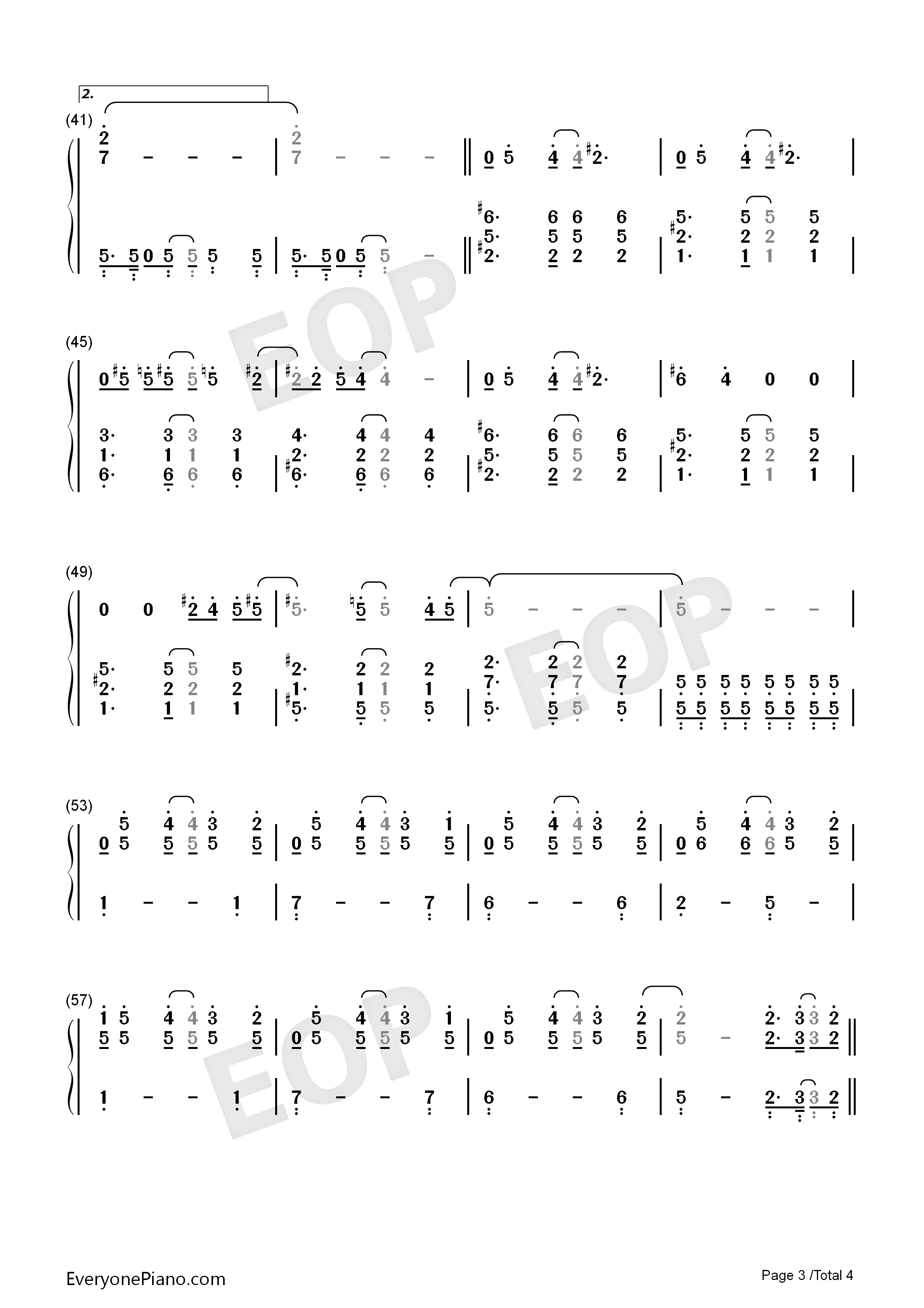 The One-Backstreet Boys Numbered Musical Notation Preview 3