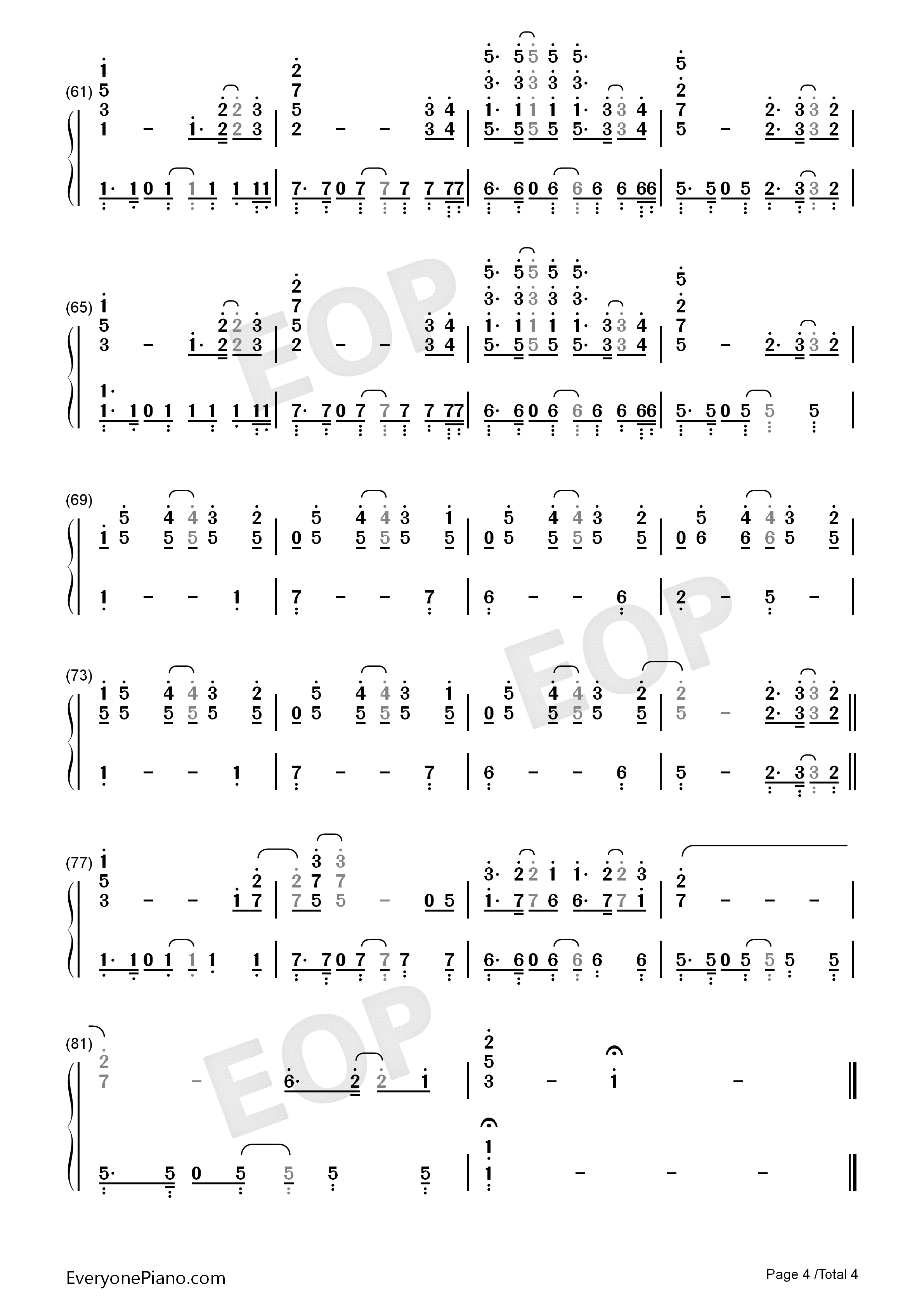 The One-Backstreet Boys Numbered Musical Notation Preview 4