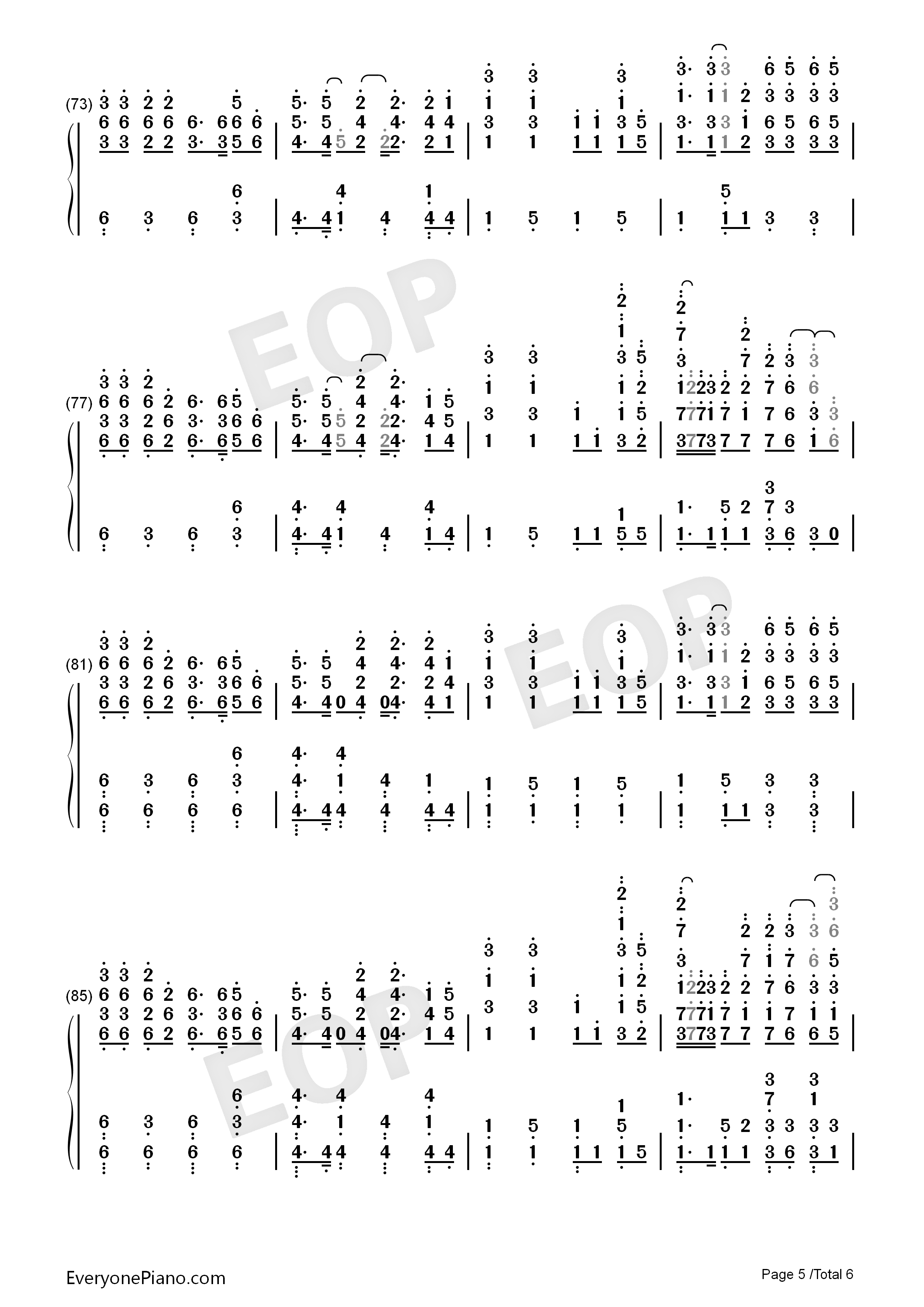 Nevada-Vicetone Numbered Musical Notation Preview 5