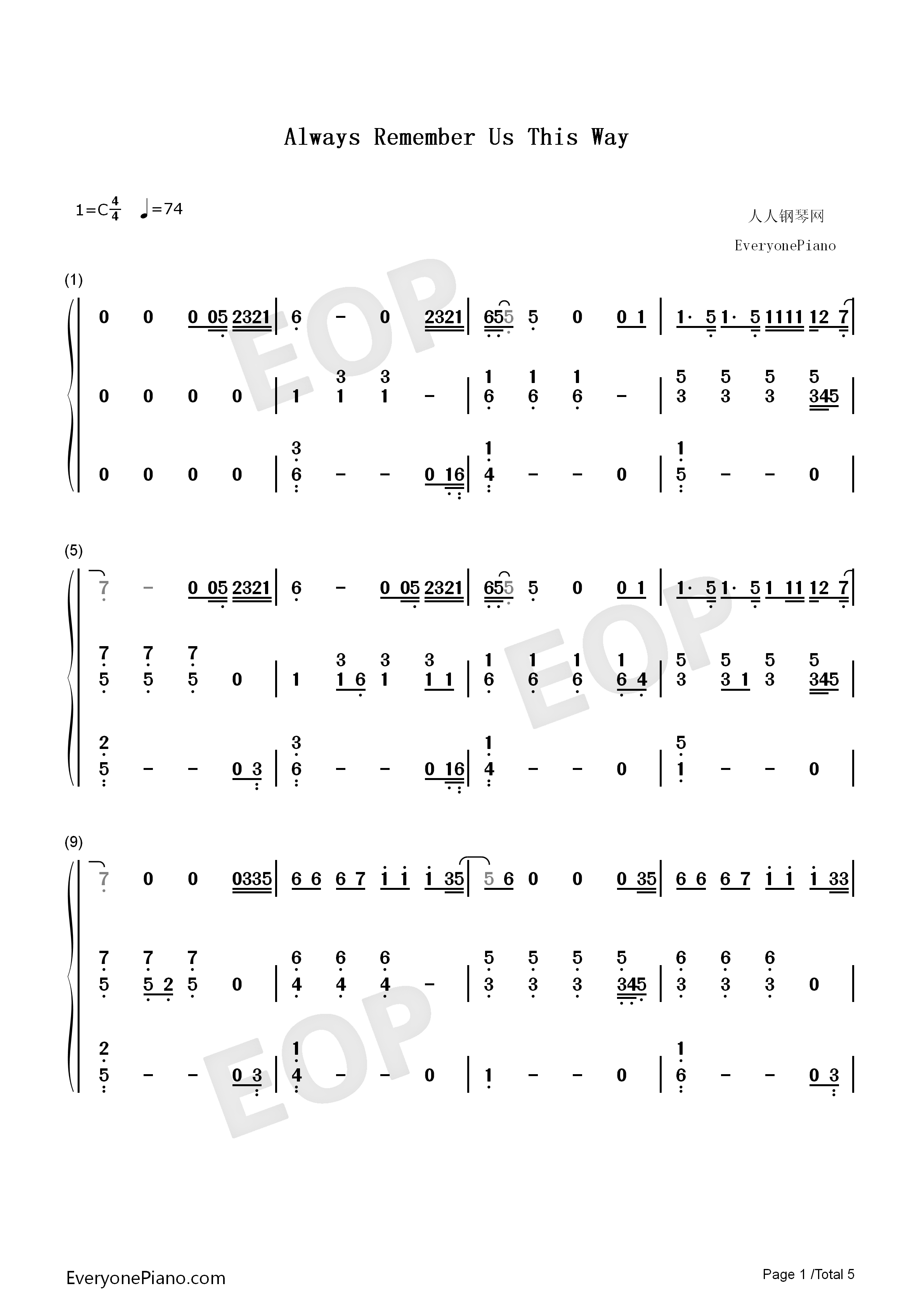Always Remember Us This Way-A Star Is Born OST Numbered Musical Notation Preview 1