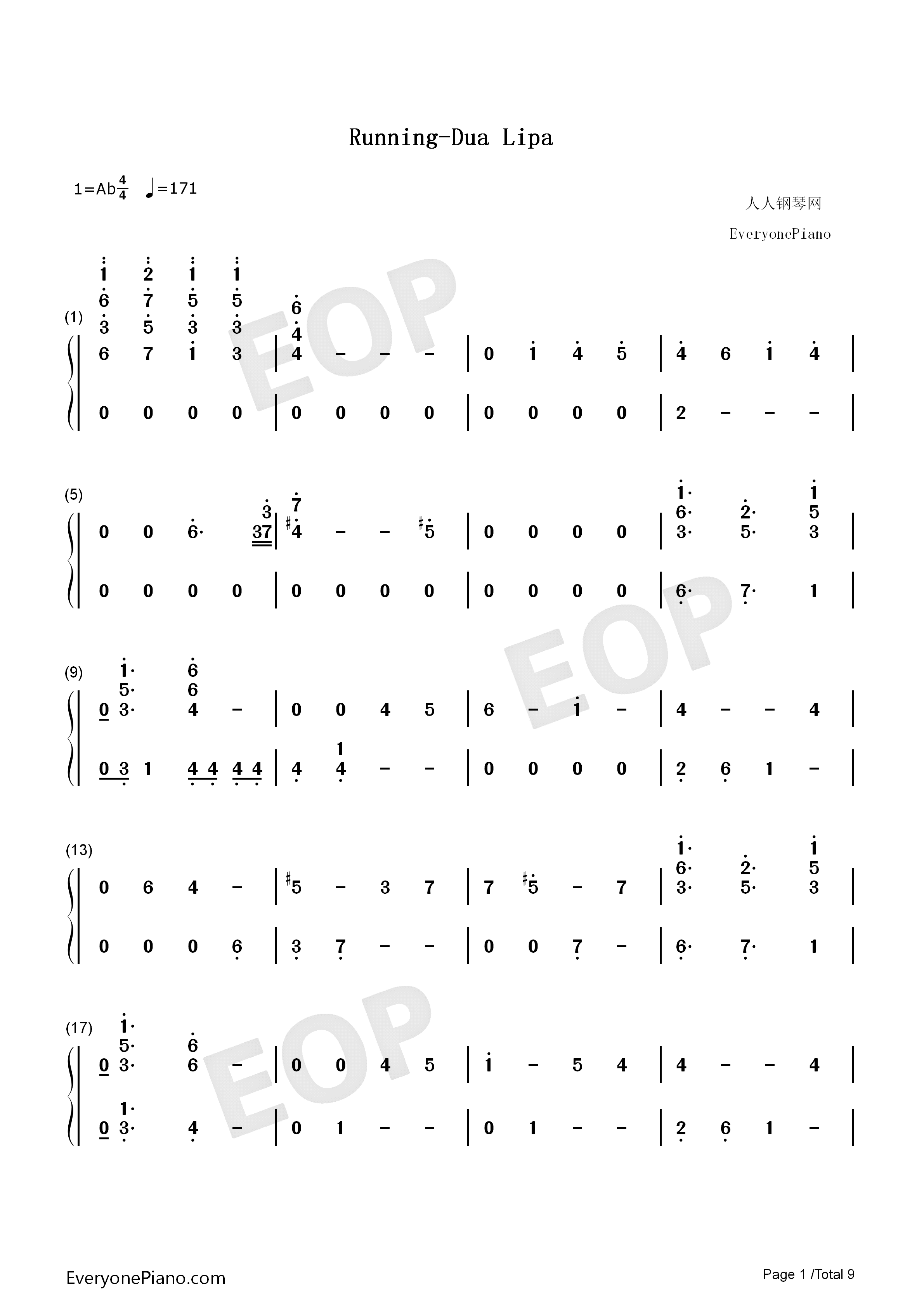 Running-Dua Lipa Numbered Musical Notation Preview 1
