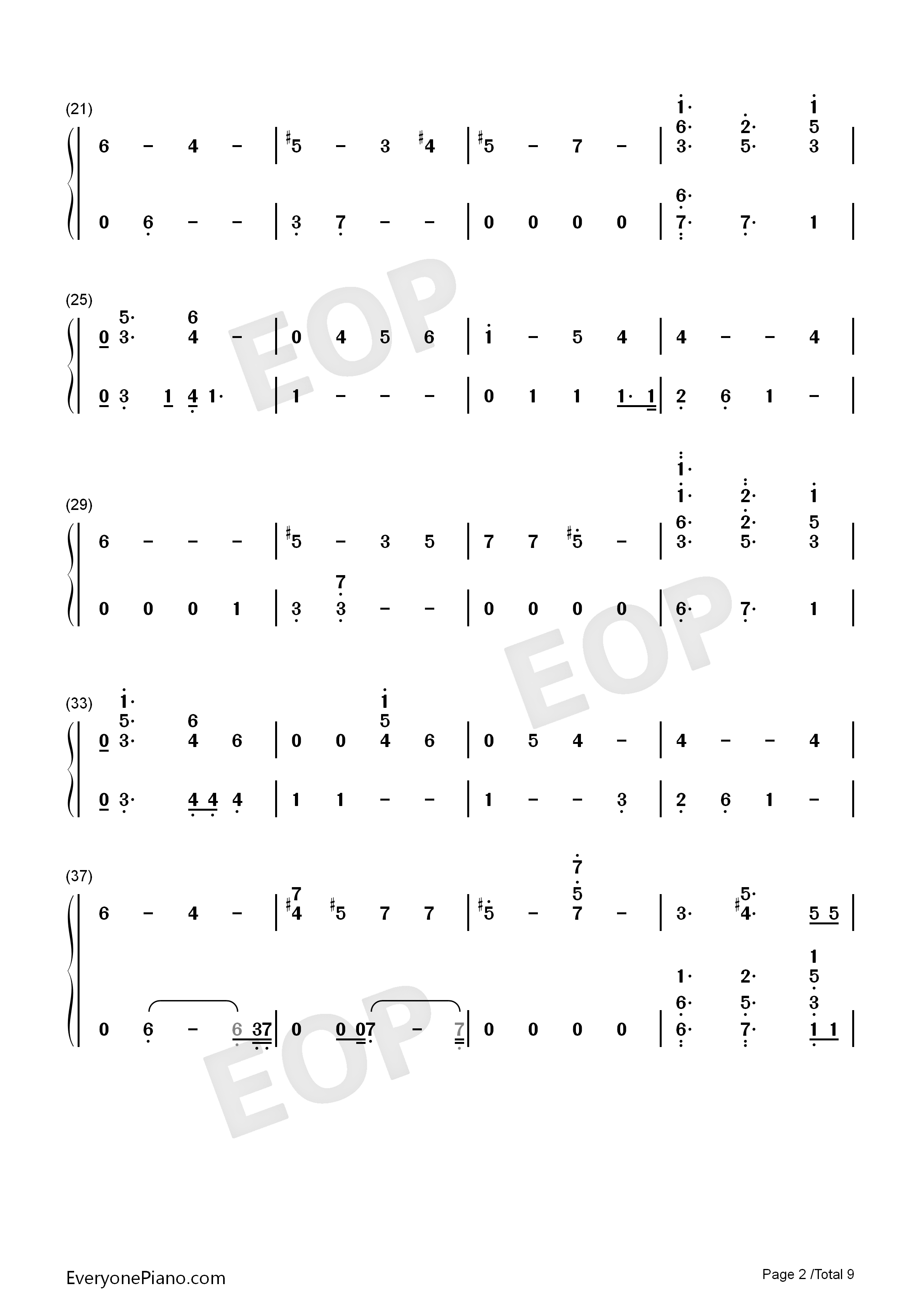 Running-Dua Lipa Numbered Musical Notation Preview 2