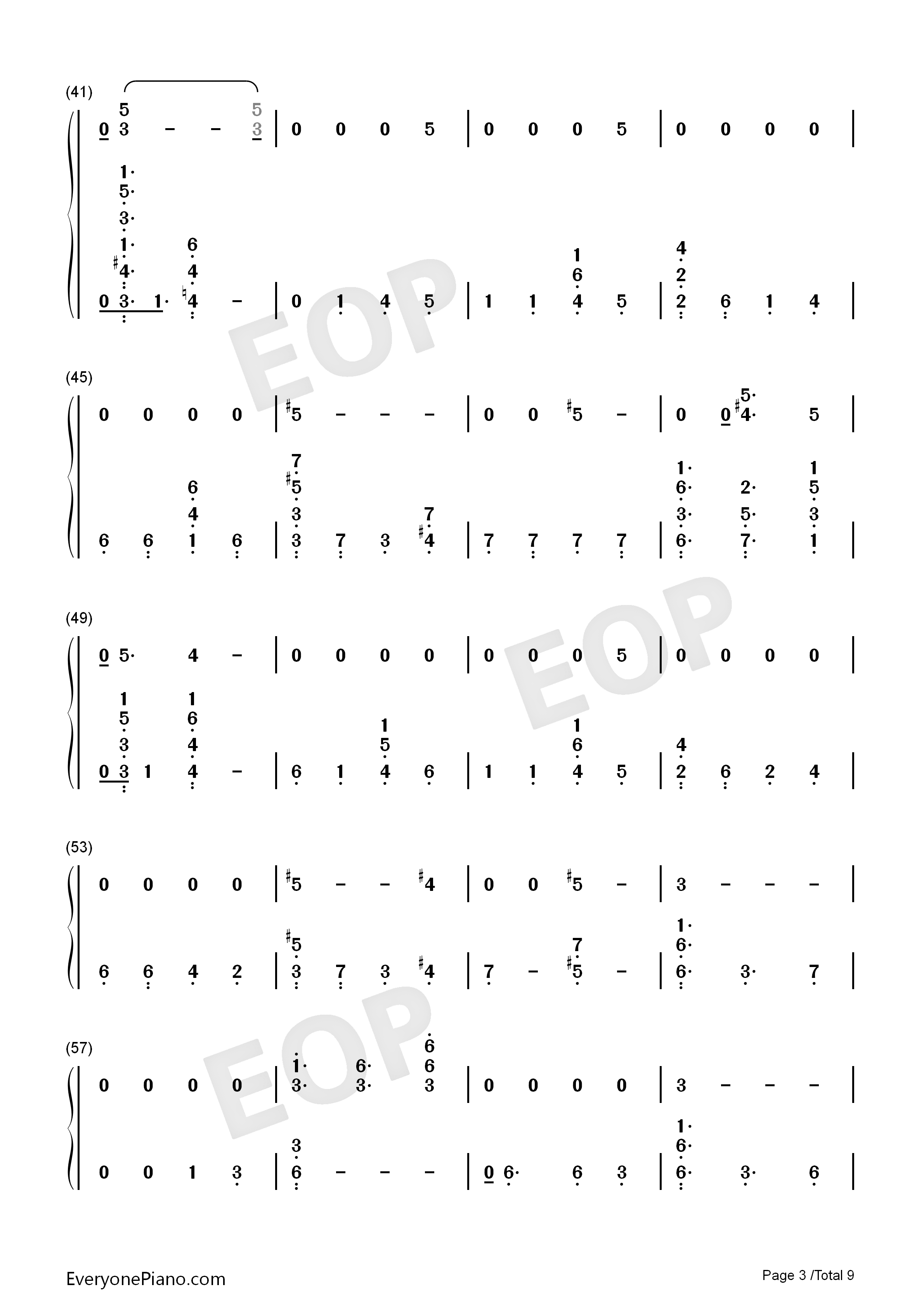 Running-Dua Lipa Numbered Musical Notation Preview 3