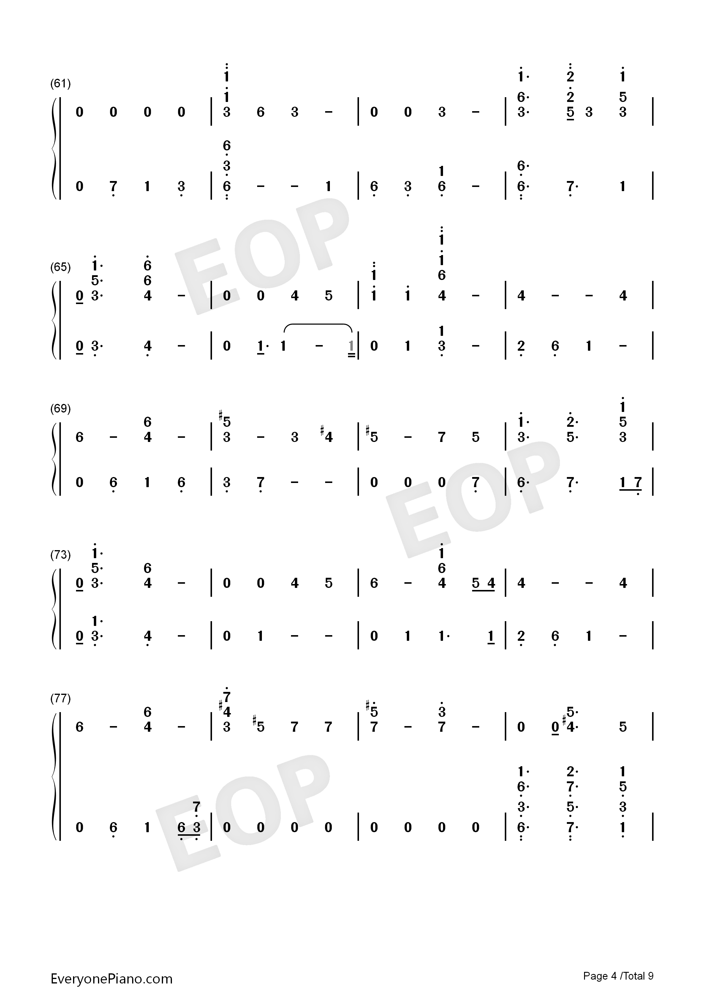Running-Dua Lipa Numbered Musical Notation Preview 4