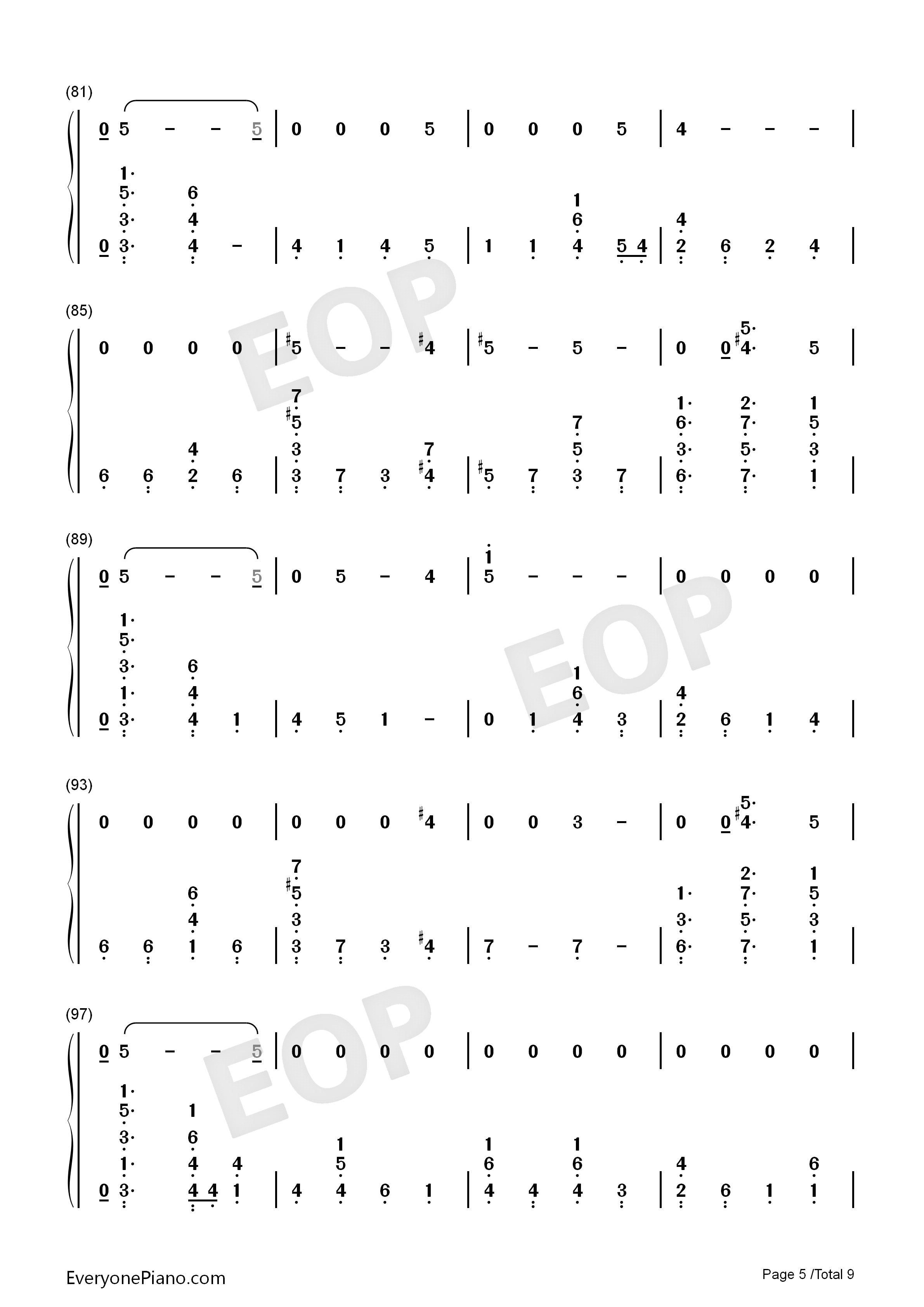 Running-Dua Lipa Numbered Musical Notation Preview 5