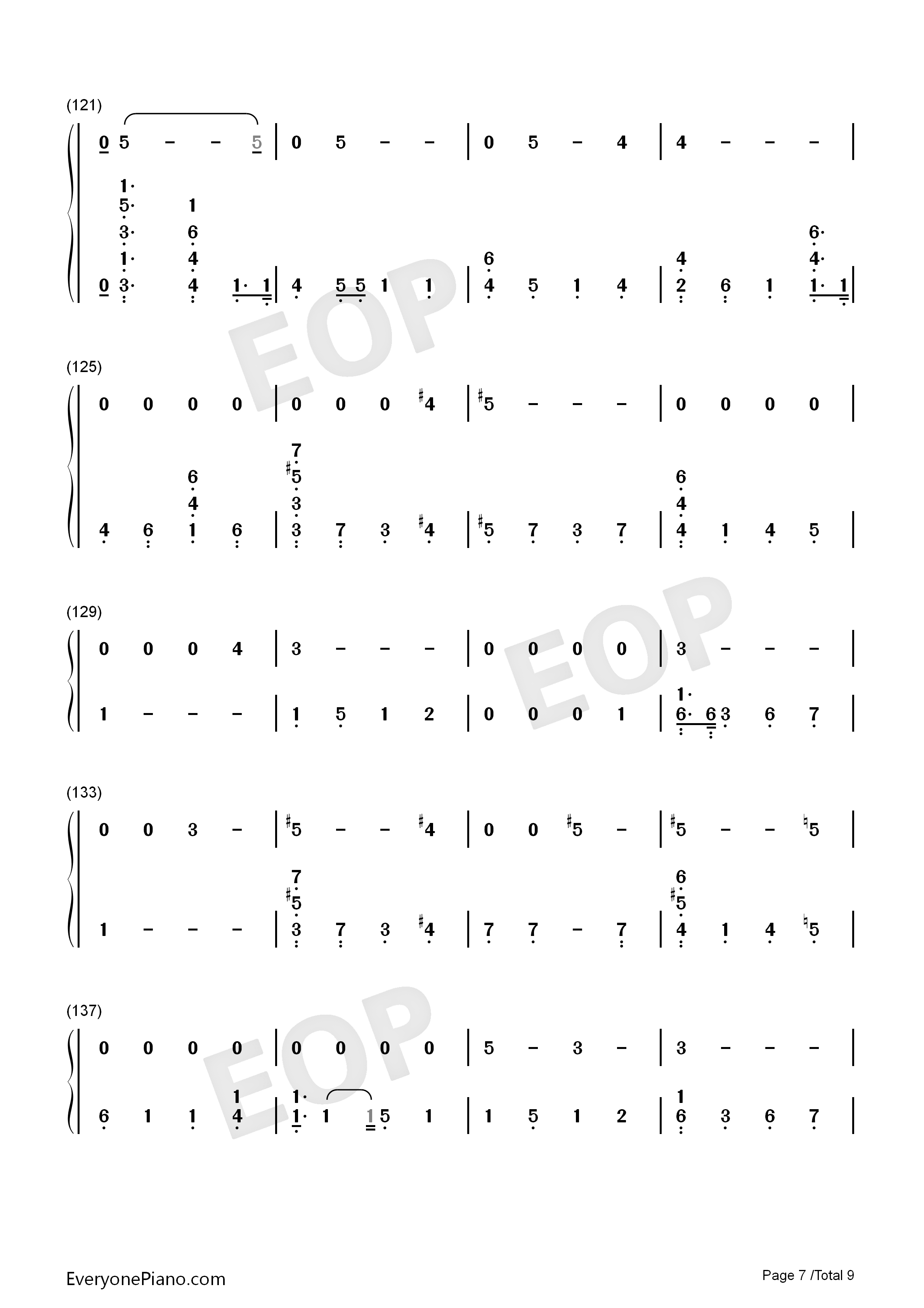 Running-Dua Lipa Numbered Musical Notation Preview 7