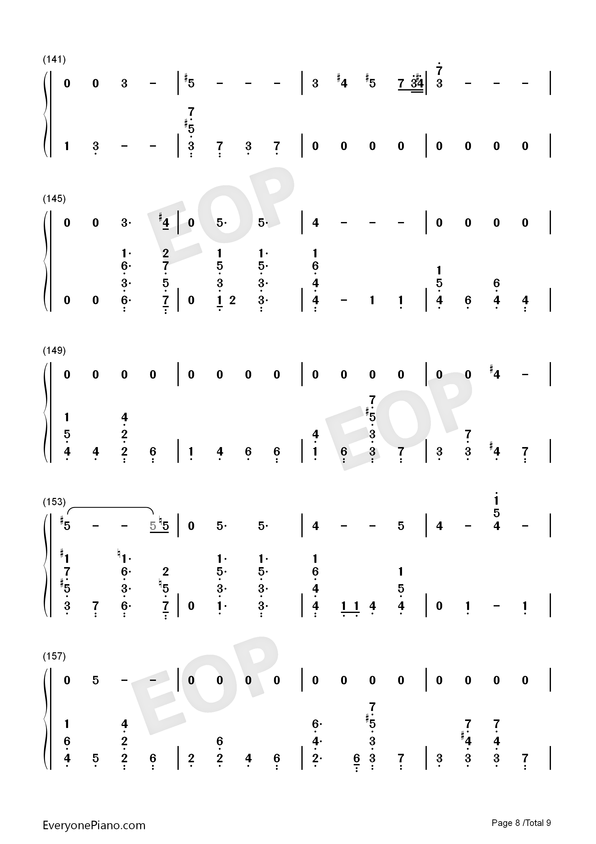 Running-Dua Lipa Numbered Musical Notation Preview 8