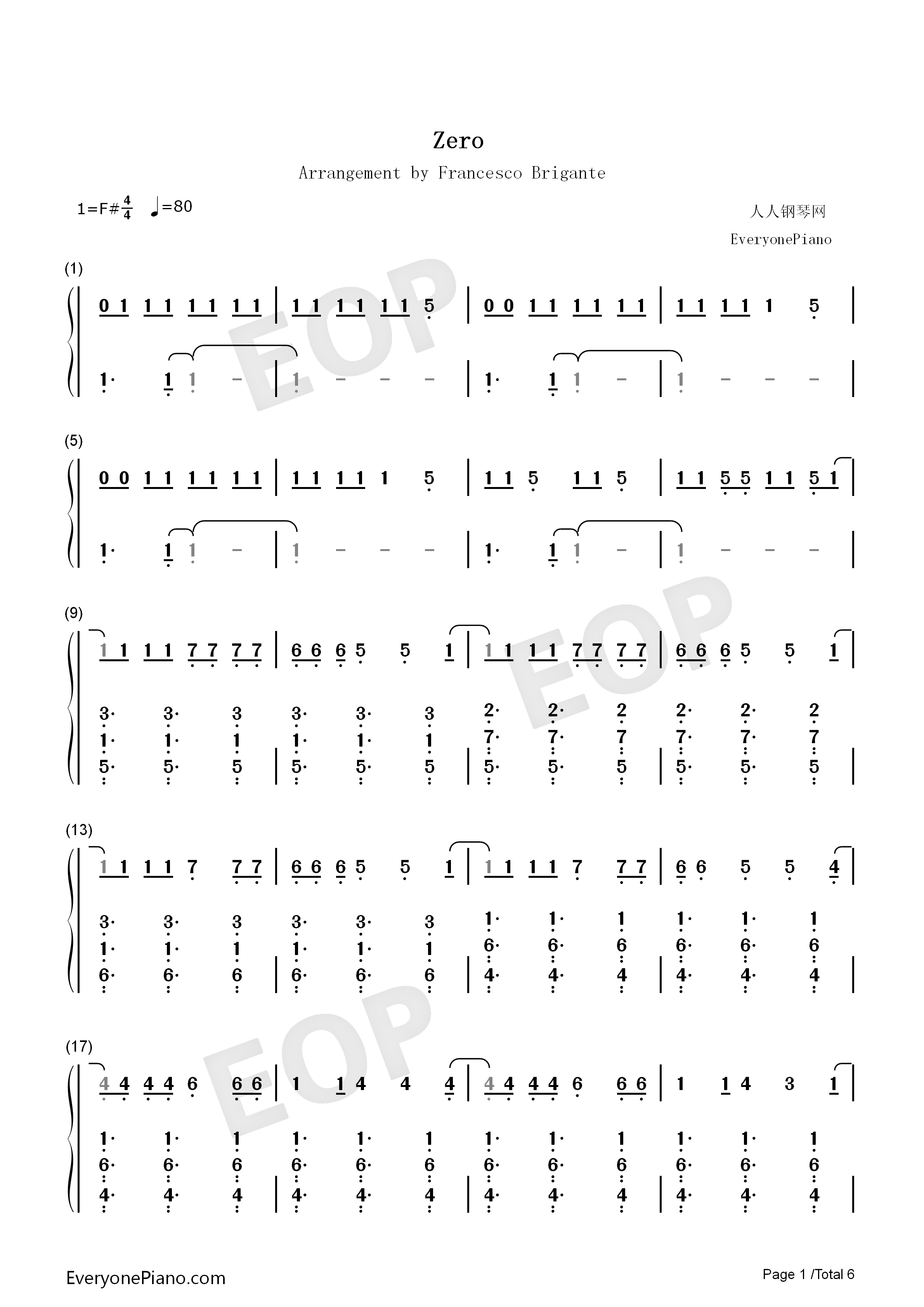 Zero-Imagine Dragons Numbered Musical Notation Preview 1