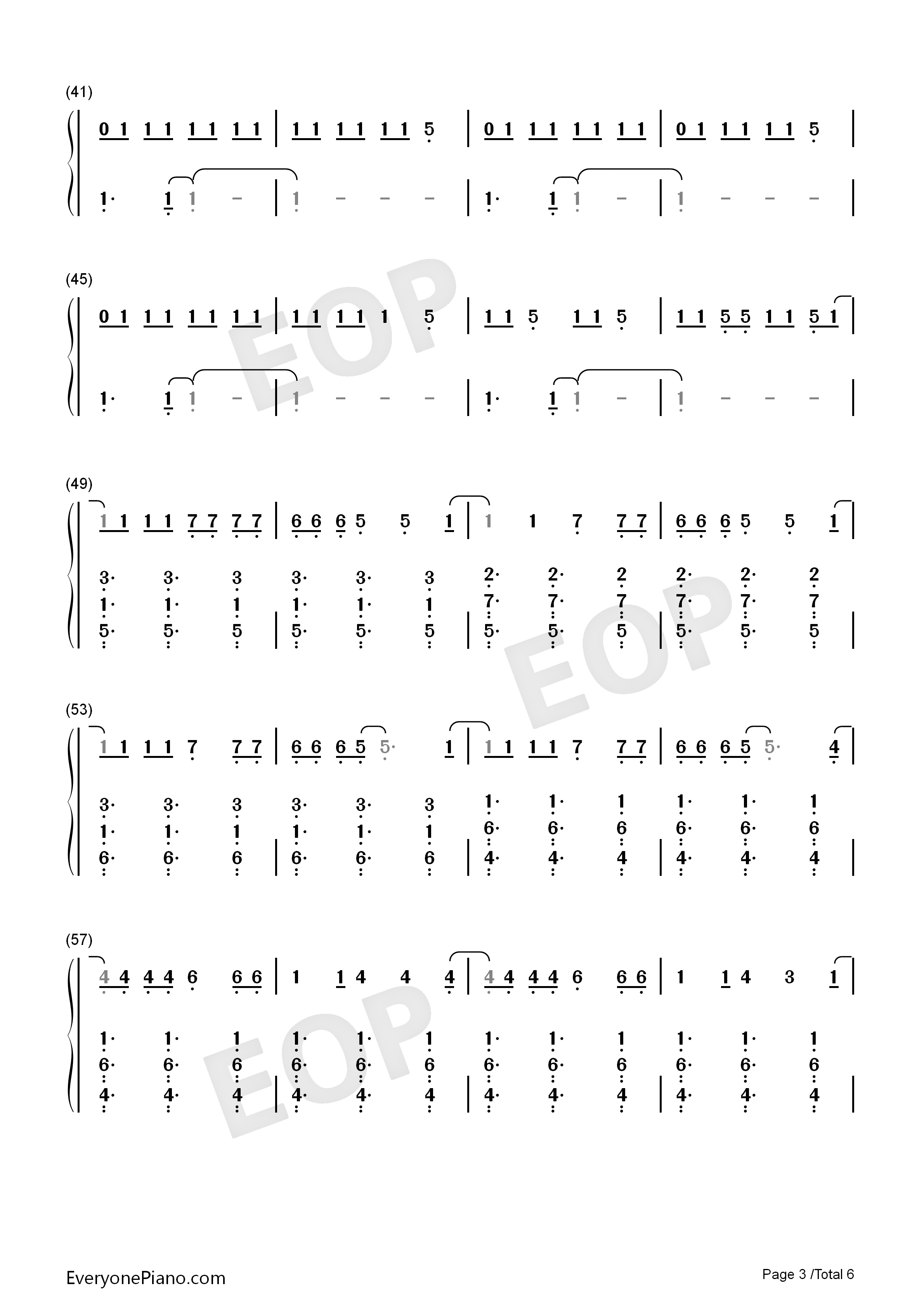 Zero-Imagine Dragons Numbered Musical Notation Preview 3