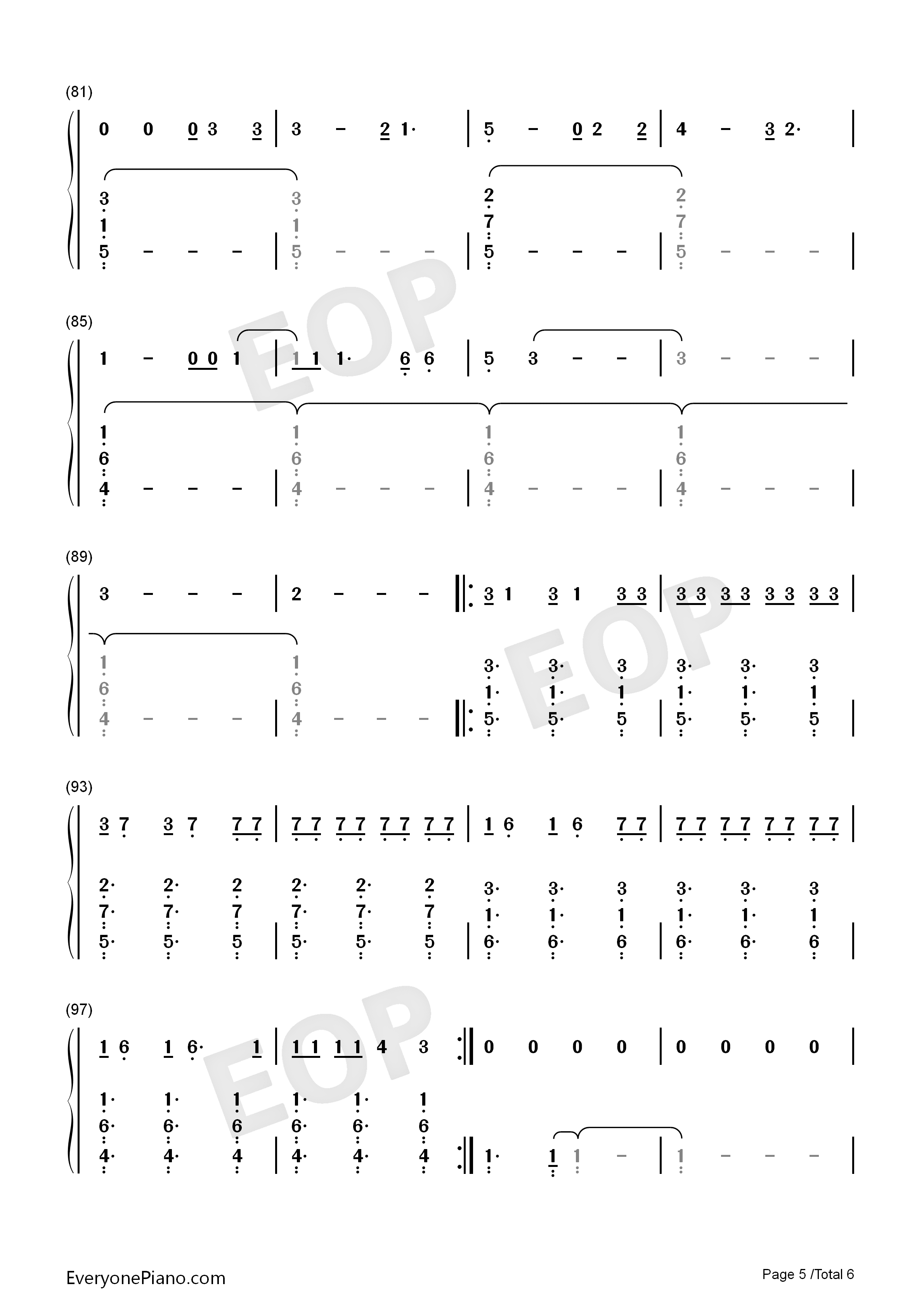 Zero-Imagine Dragons Numbered Musical Notation Preview 5