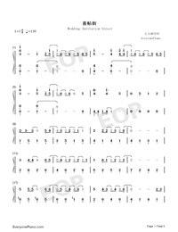 Wedding Invitation Street-Kay Tse Numbered Musical Notation Preview 1