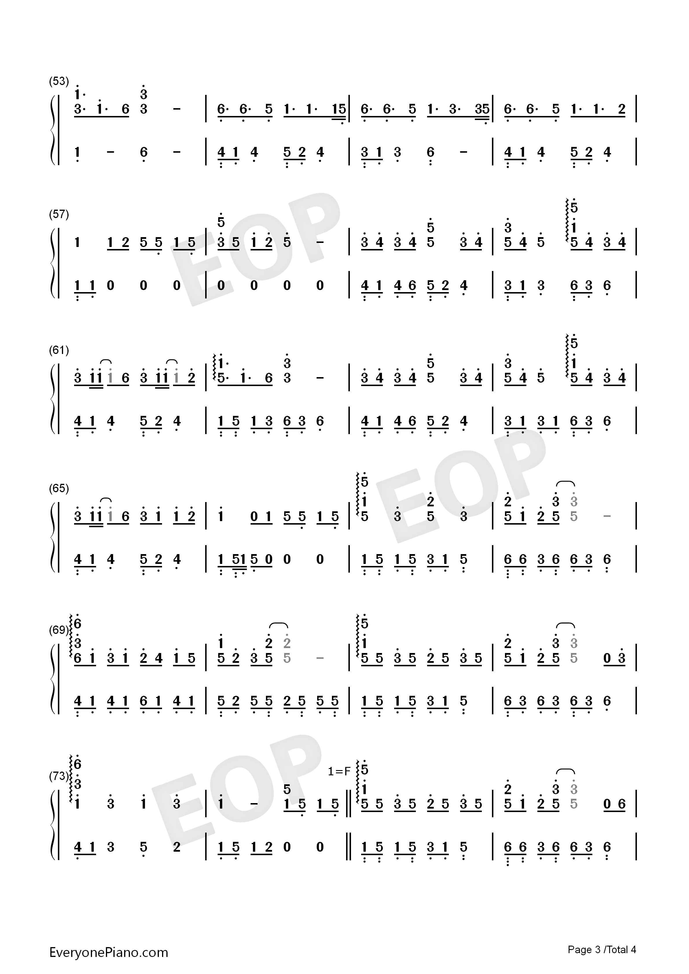 Ren'ai Circulation-Perfect Version Numbered Musical Notation Preview 3