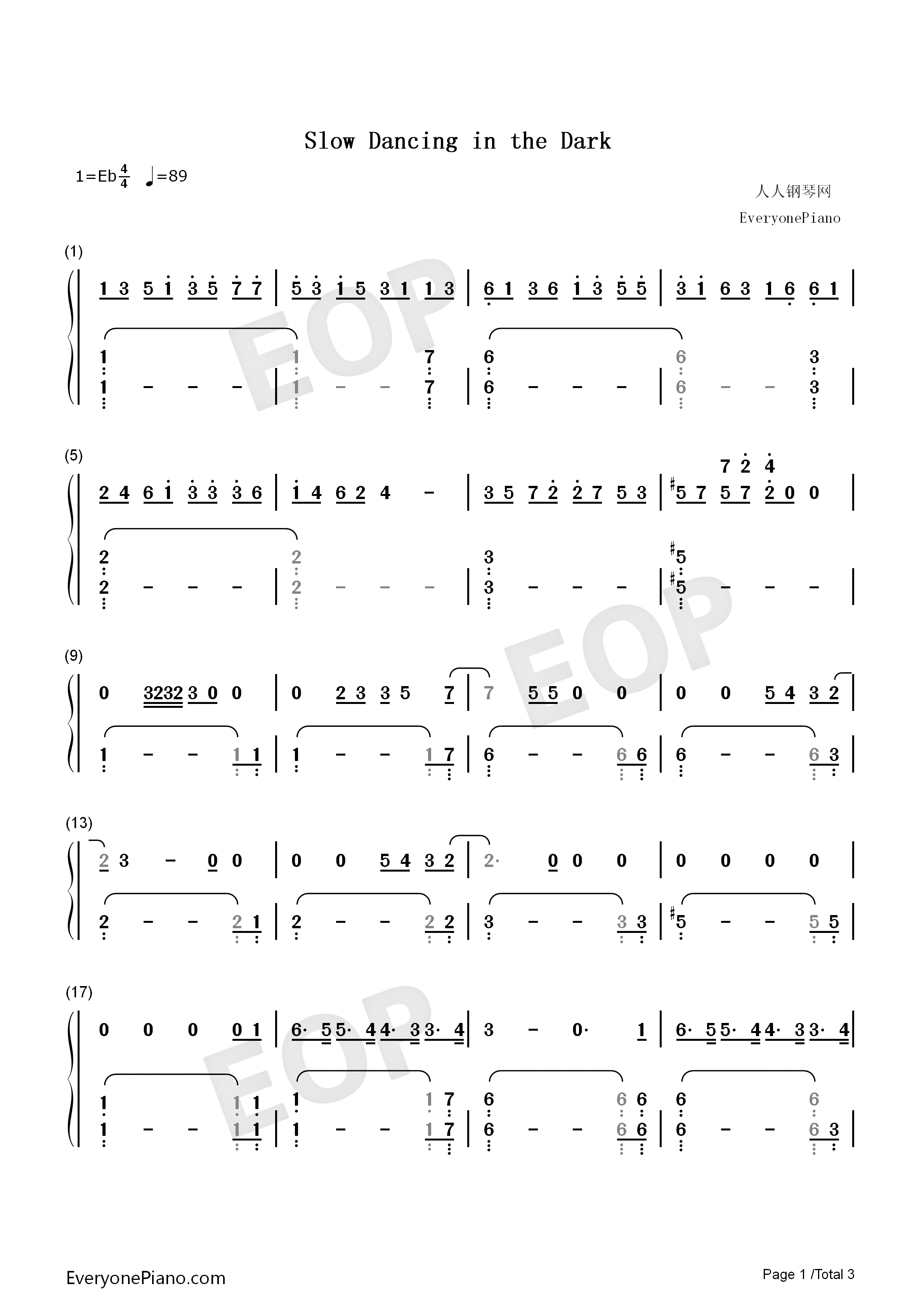 Slow Dancing In The Dark Joji Numbered Musical Notation Preview