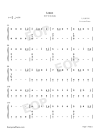 Lemon-Easy Version Numbered Musical Notation Preview 1