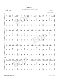 Anxiety-Julia Michaels ft Selena Gomez-Numbered-Musical-Notation-Preview-1