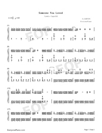 Someone You Loved-Lewis Capaldi Numbered Musical Notation Preview 1