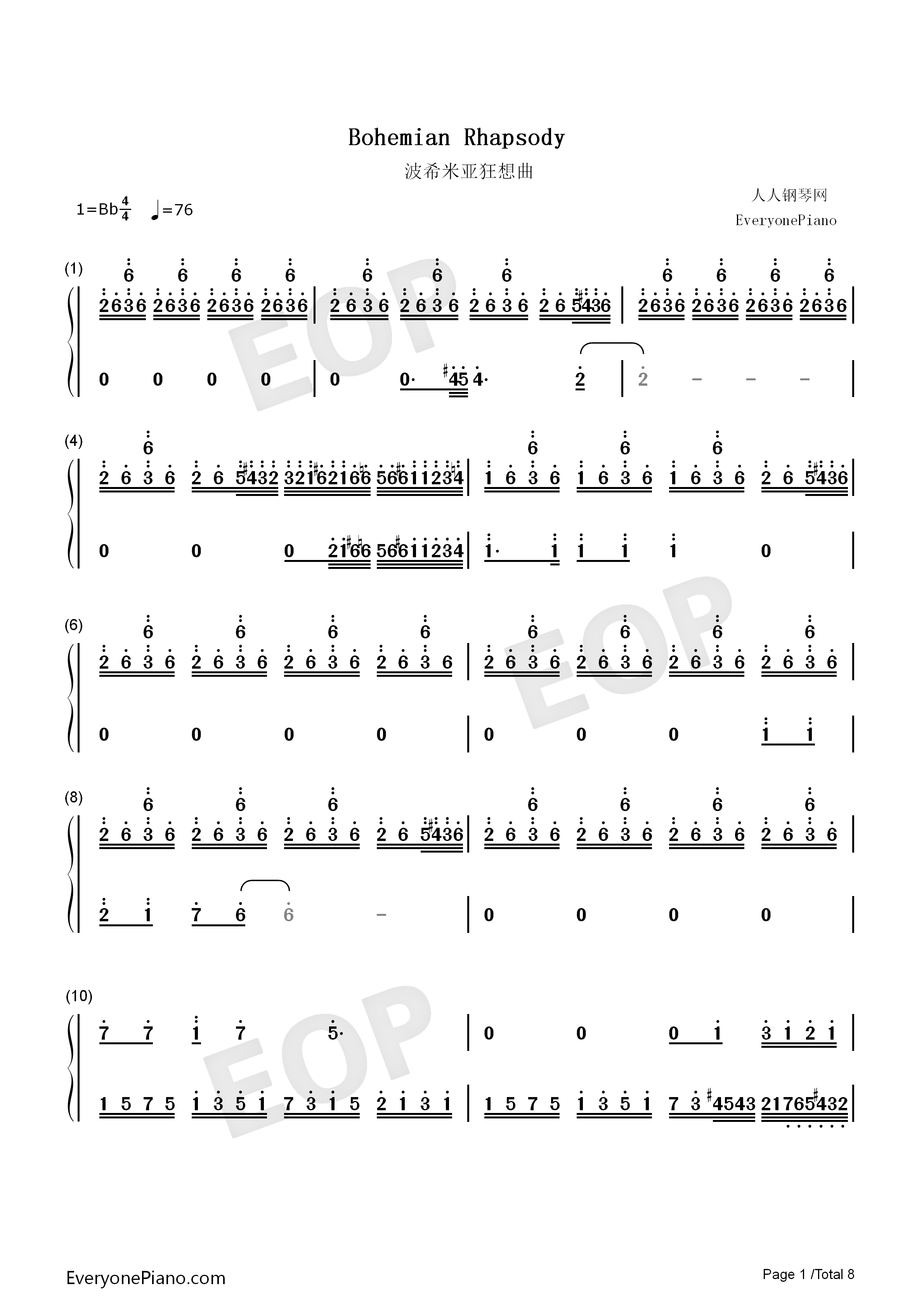 Bohemian Rhapsody-Perfect Version Numbered Musical Notation Preview 1
