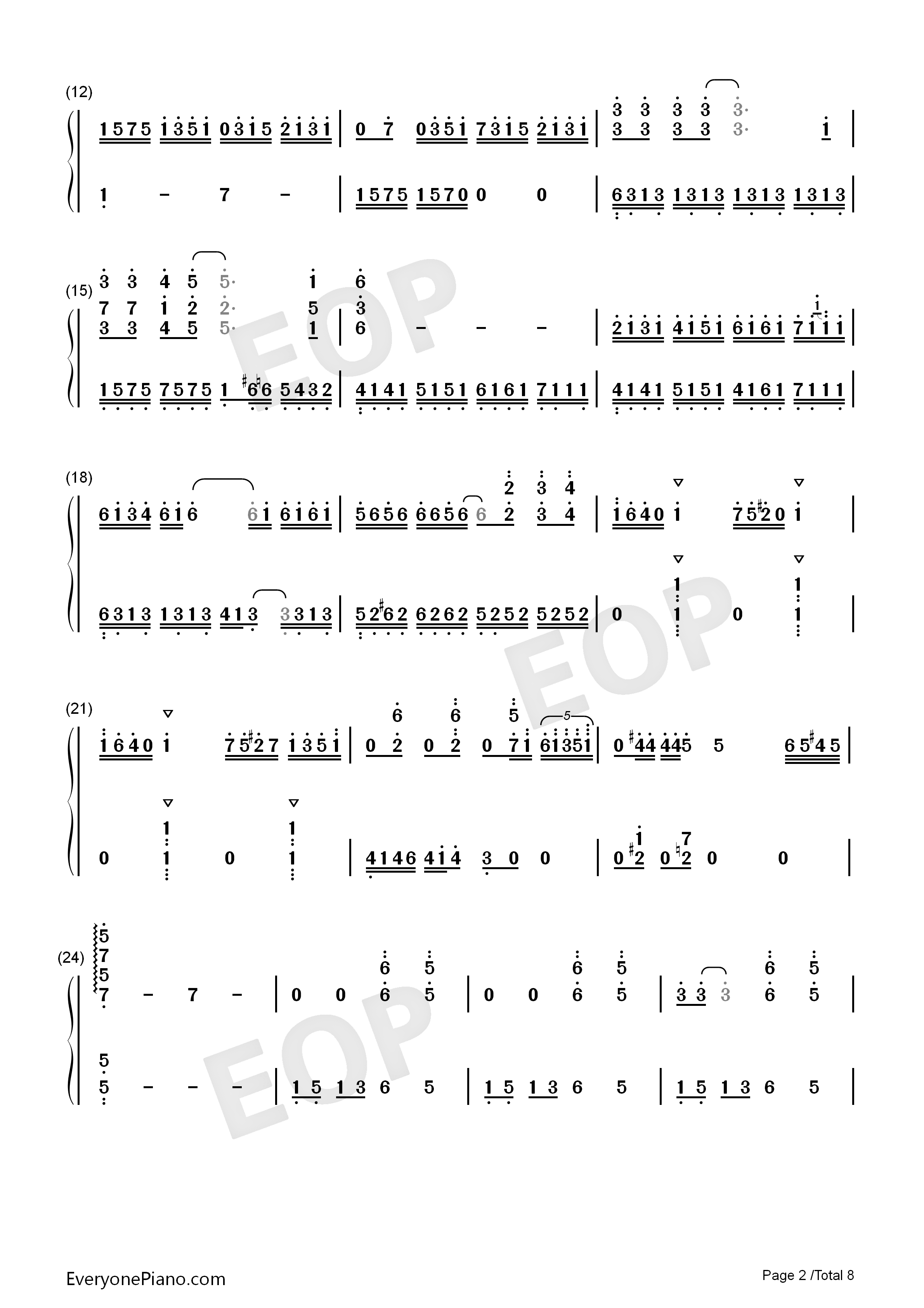 Bohemian Rhapsody-Perfect Version Numbered Musical Notation Preview 2