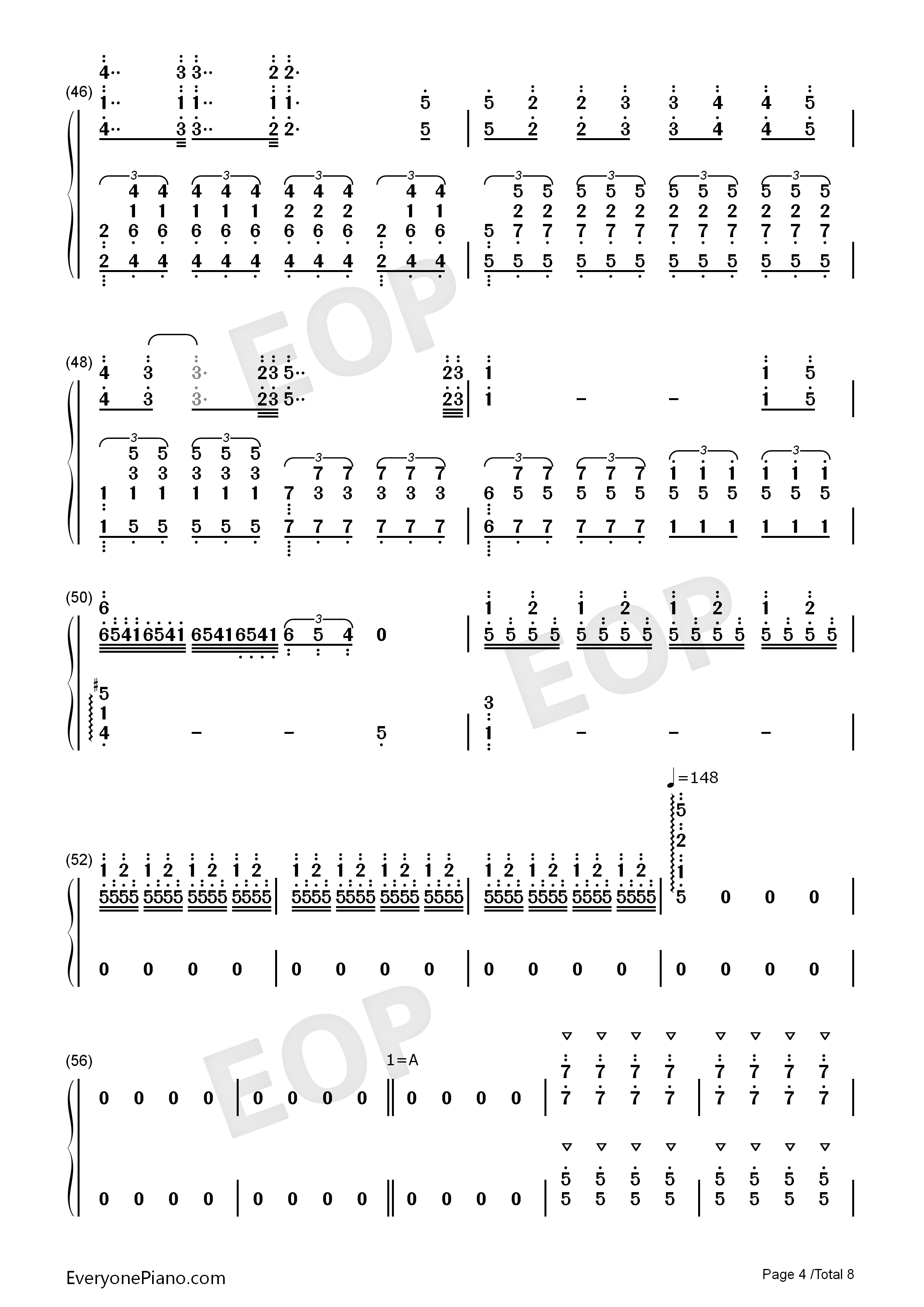 Bohemian Rhapsody-Perfect Version Numbered Musical Notation Preview 4