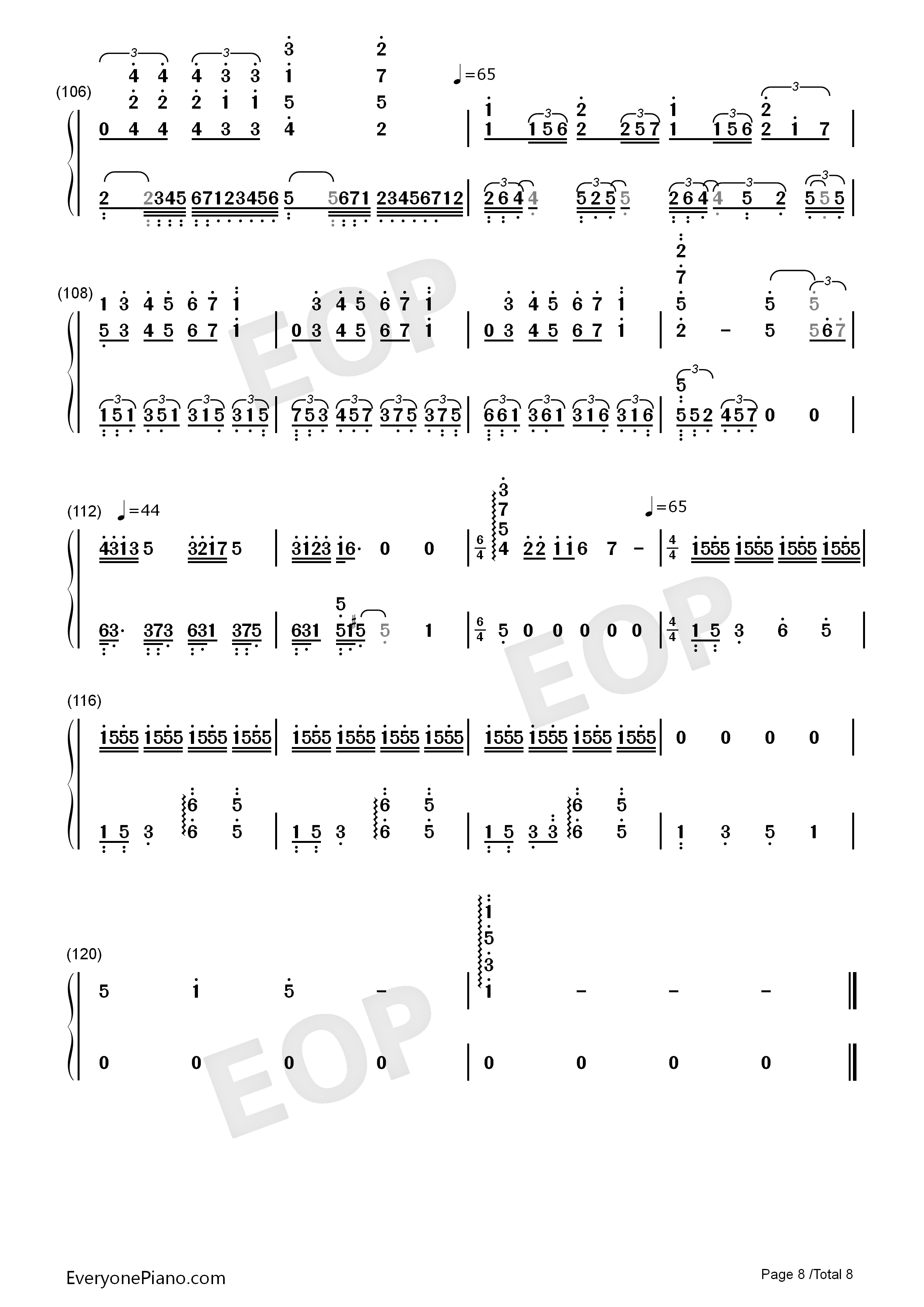 Bohemian Rhapsody-Perfect Version Numbered Musical Notation Preview 8