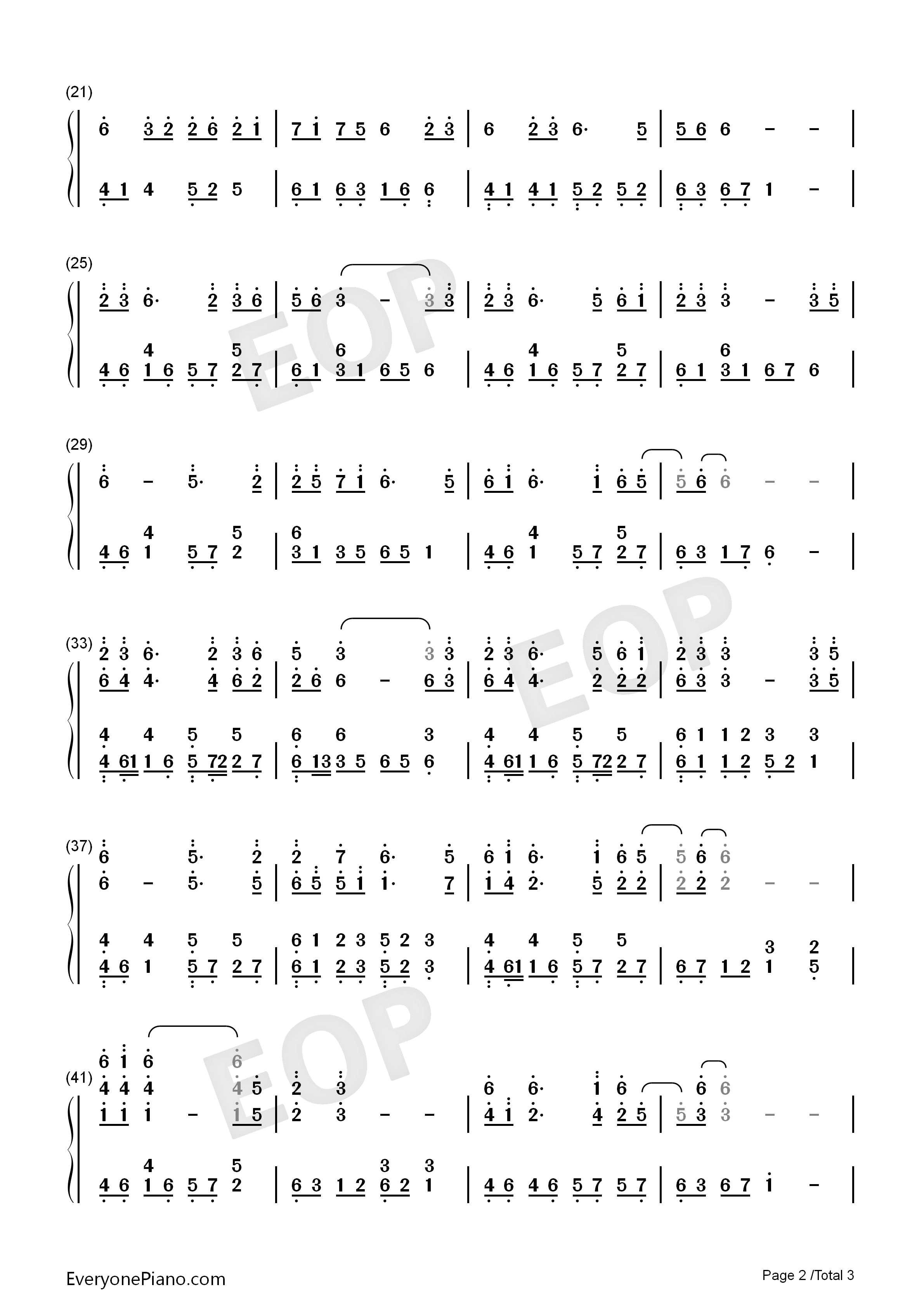 At First Sight-East Palace Theme Numbered Musical Notation Preview 2
