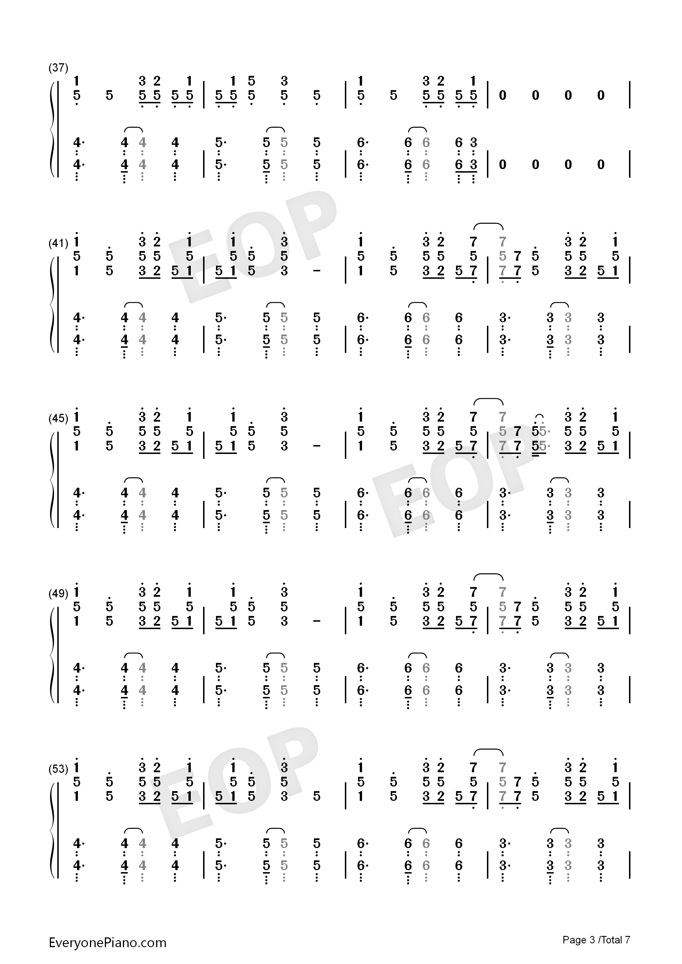 Reverse-TikTok Hot Song Numbered Musical Notation Preview 3