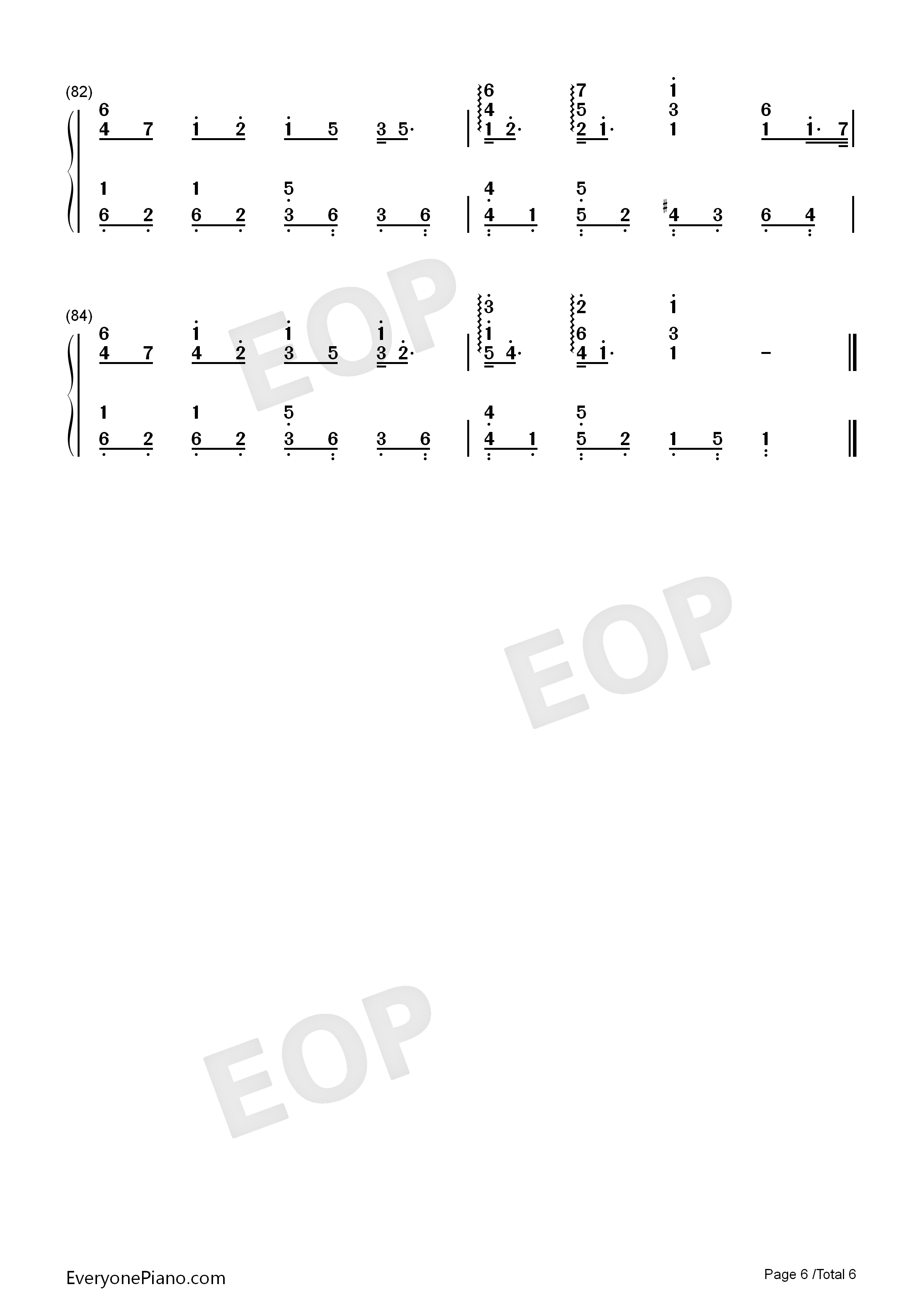 Lemon-Perfect Version Numbered Musical Notation Preview 6