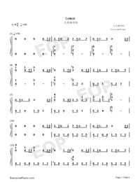 Lemon-Perfect Version Numbered Musical Notation Preview 1
