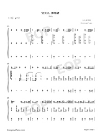 Baby-Baby Theme-Numbered-Musical-Notation-Preview-1