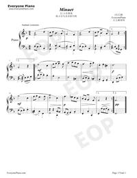 メヌエット21番-Minuet-バッハ五線譜プレビュー1