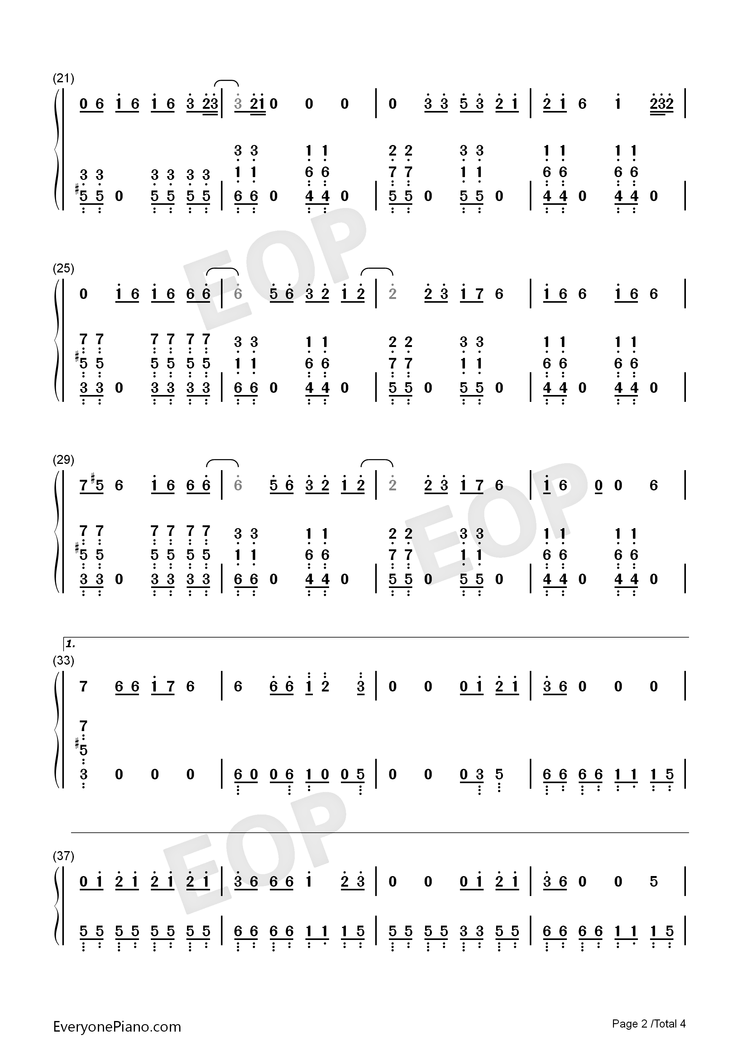 Sucker-Jonas Brothers Numbered Musical Notation Preview 2