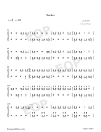 Sucker-Jonas Brothers-Numbered-Musical-Notation-Preview-1