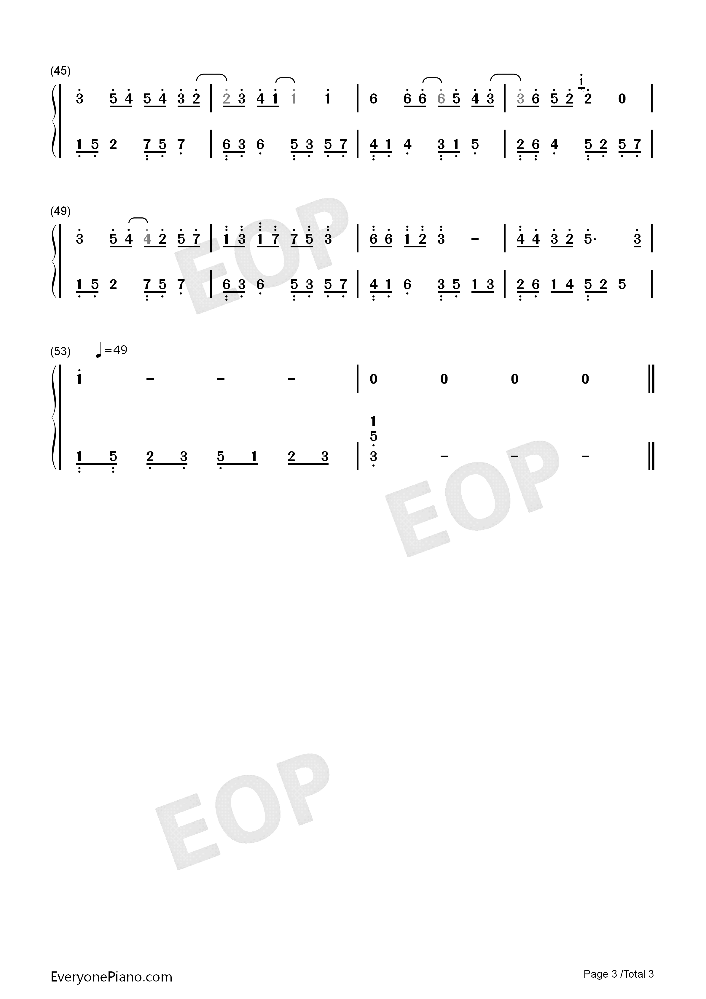 The World Is Asleep-Perfect Version Numbered Musical Notation Preview 3