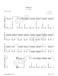 Scherzo 25-Johann Sebastian Bach Numbered Musical Notation Preview 1