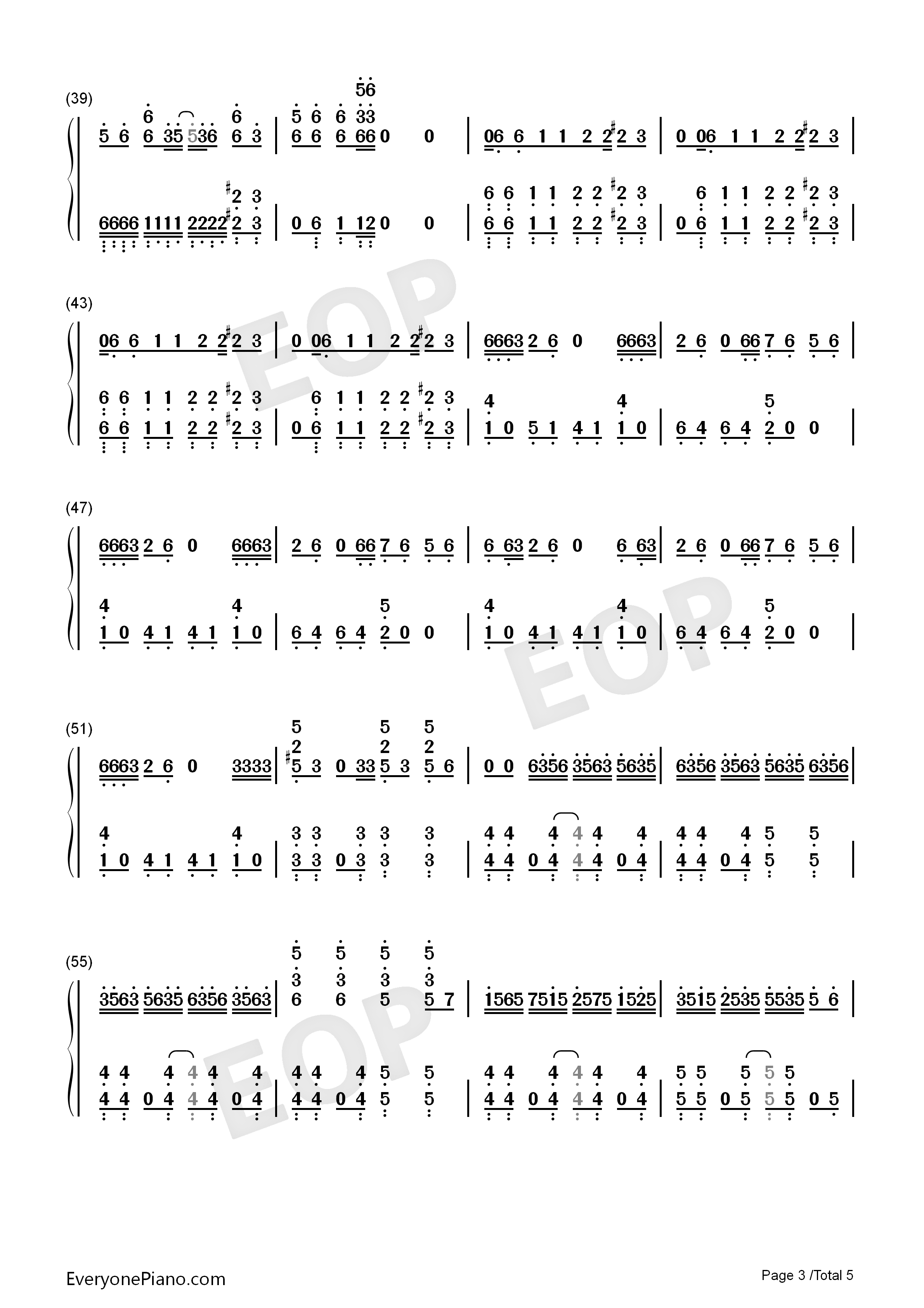 Bad-Michael Jackson Numbered Musical Notation Preview 3