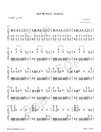 Bad-Michael Jackson-Numbered-Musical-Notation-Preview-1