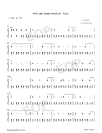 Welcome Home-Radical Face Numbered Musical Notation Preview 1