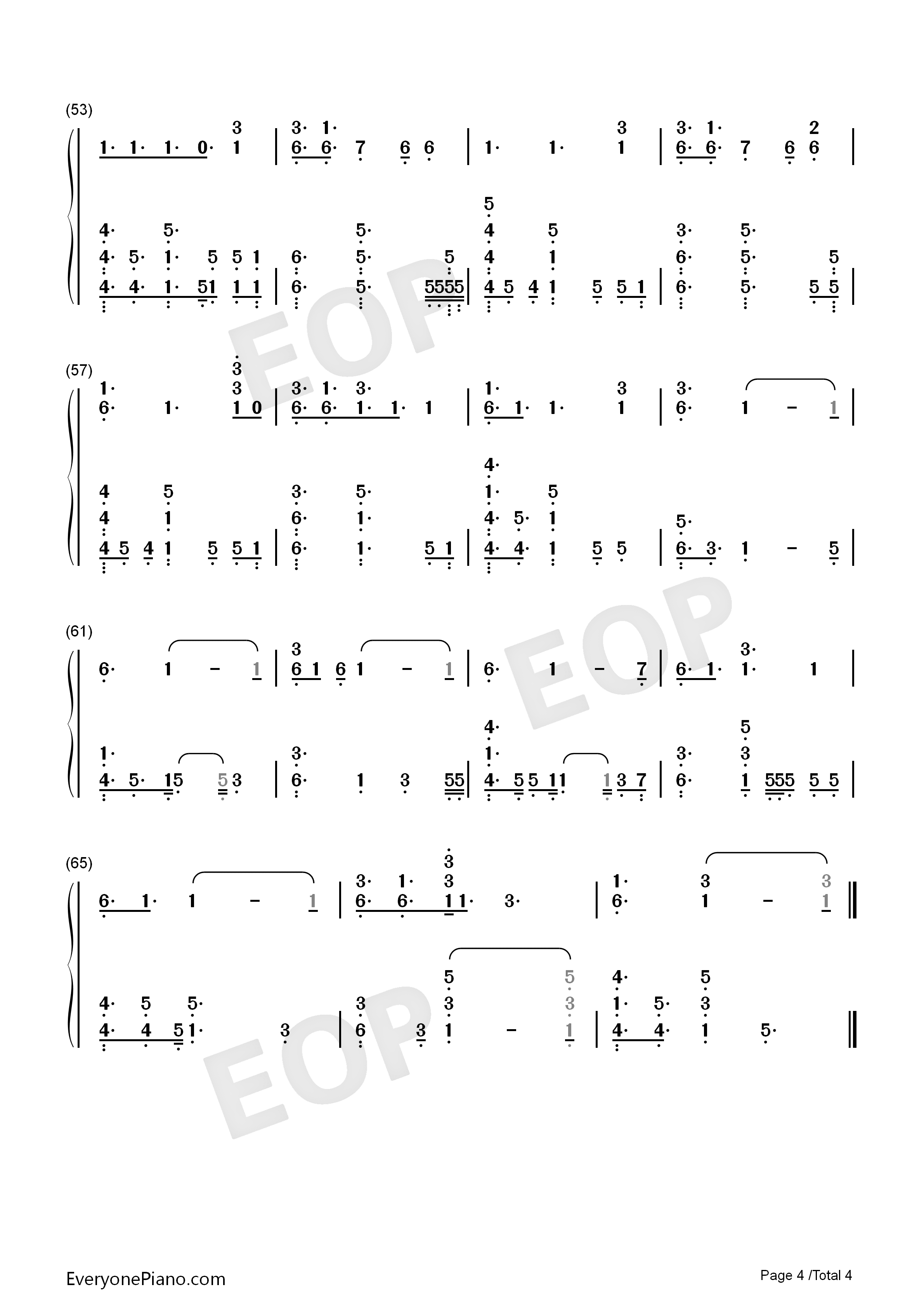 No Place-Backstreet Boys Numbered Musical Notation Preview 4