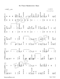 No Place-Backstreet Boys Numbered Musical Notation Preview 1