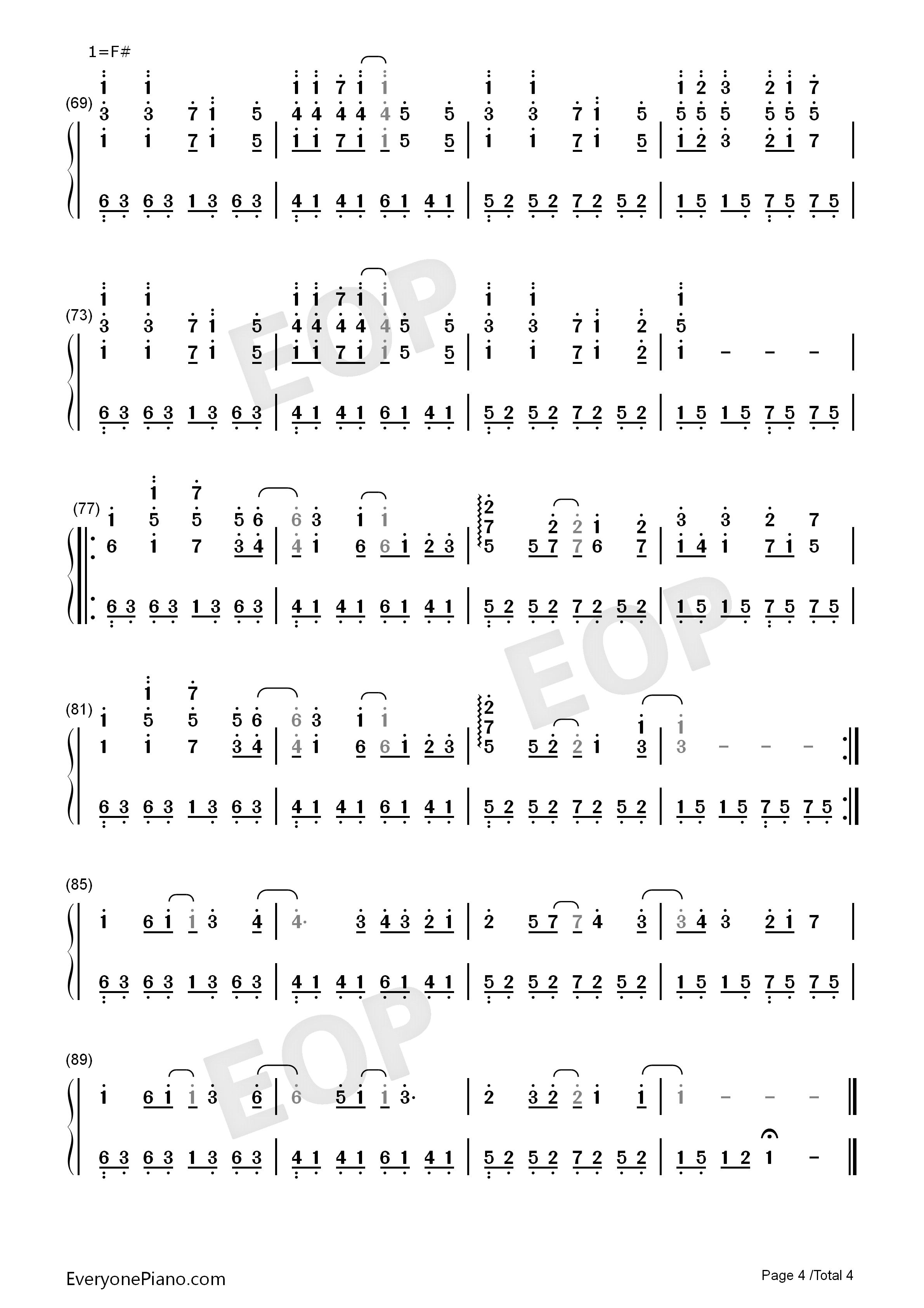 Ashita ni wa Kiete Yuku-Hatsune Miku Numbered Musical Notation Preview 4