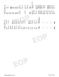 A Comme Amour-Easy Version-Numbered-Musical-Notation-Preview-2