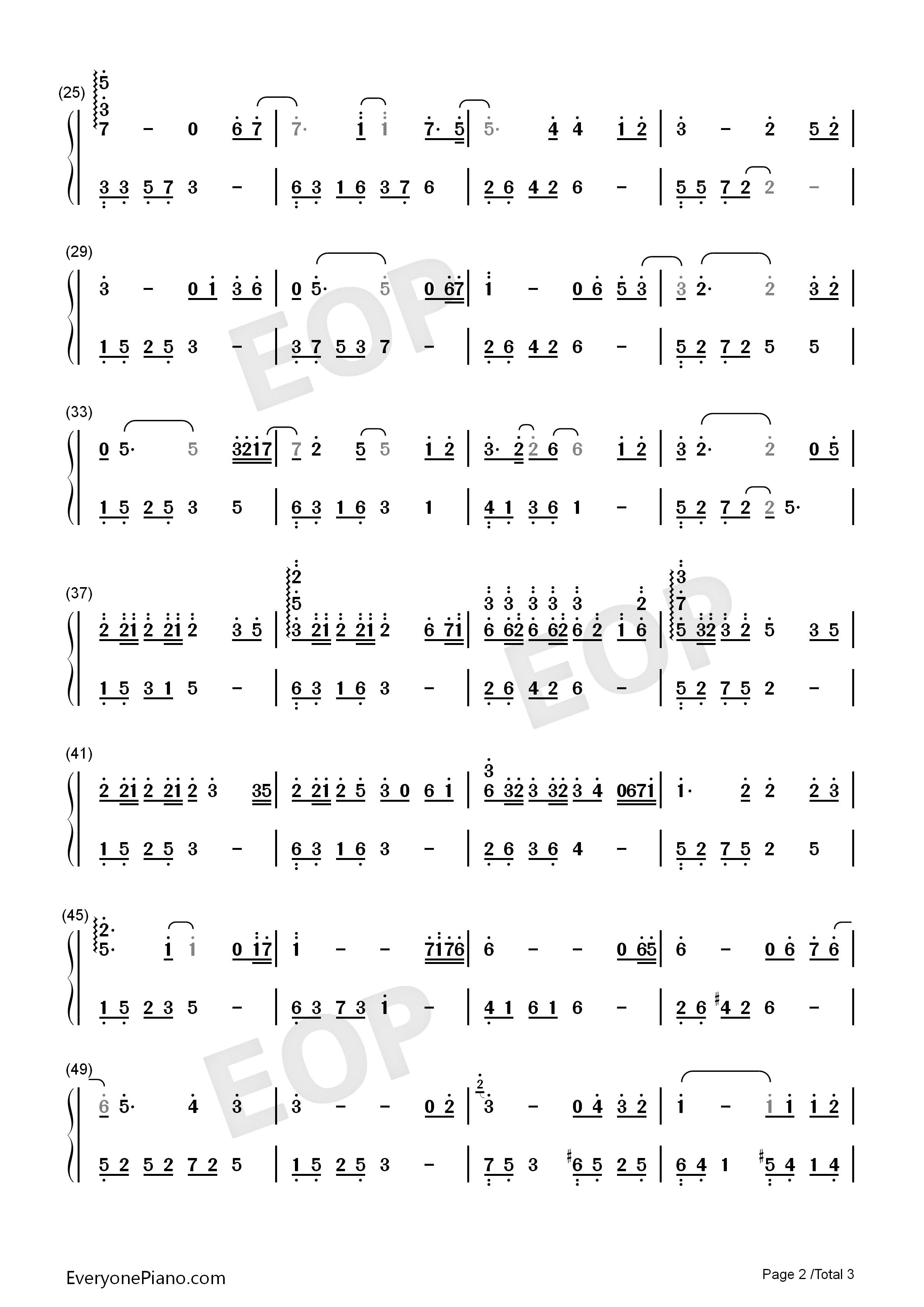 A Room of Ones Own Numbered Musical Notation Preview 2